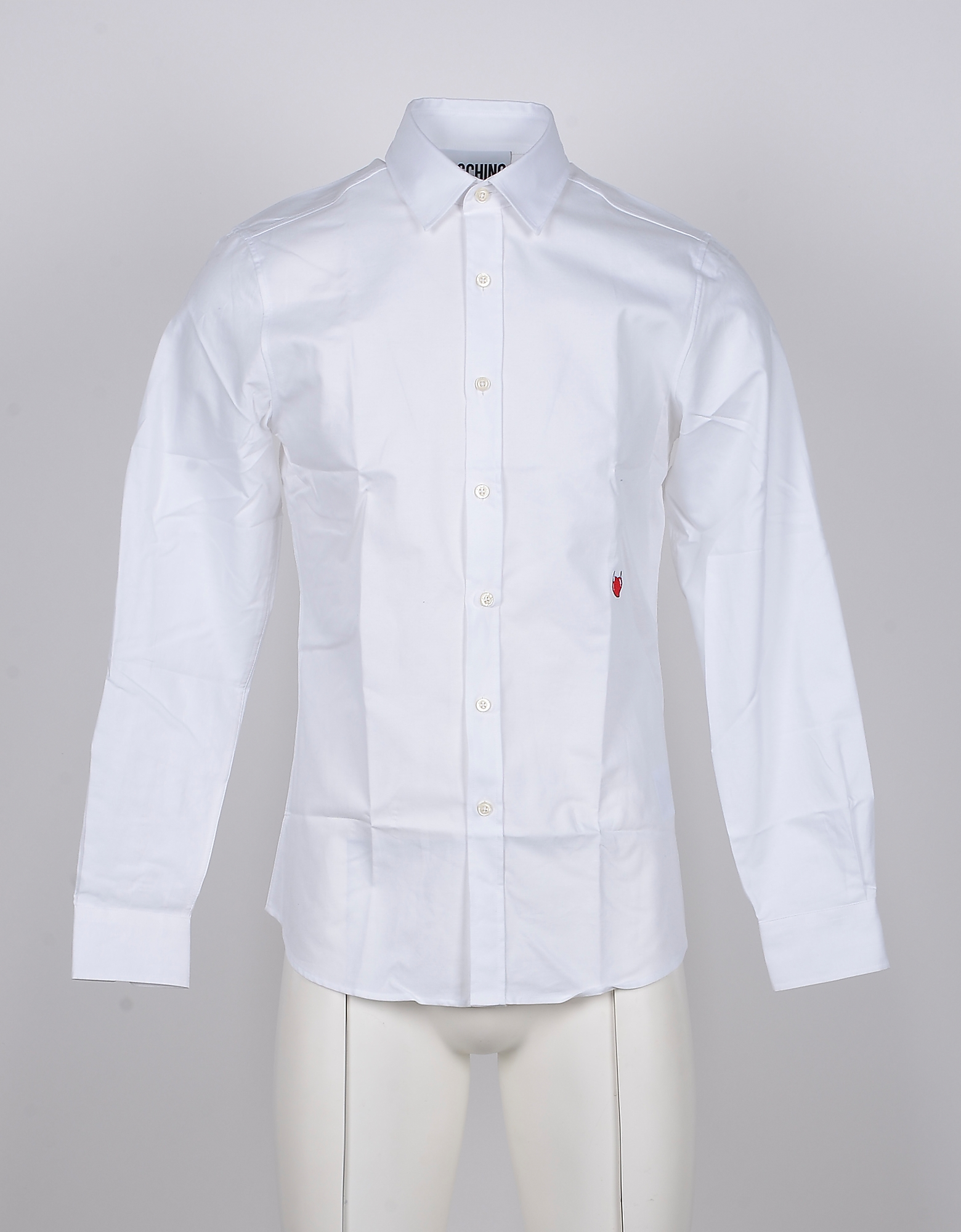 Moschino Designer Shirts, Red Heart Embroidered White Cotton Men's Dress Shirt