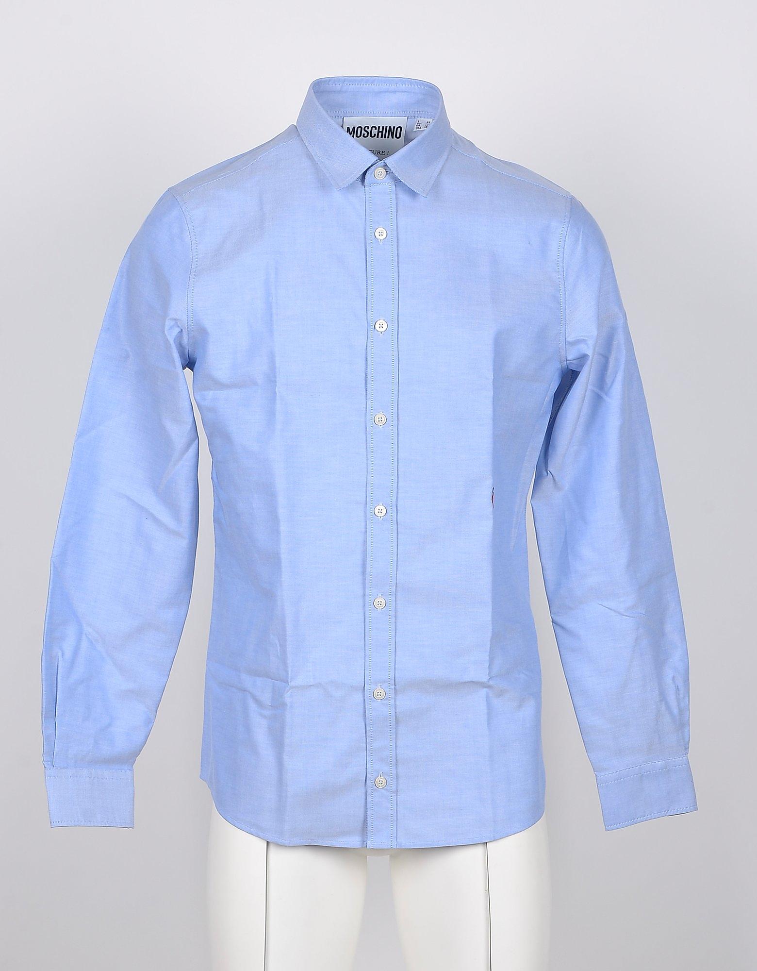 Moschino Designer Shirts, Light Blue Cotton Heart Embroidered Men's Shirt
