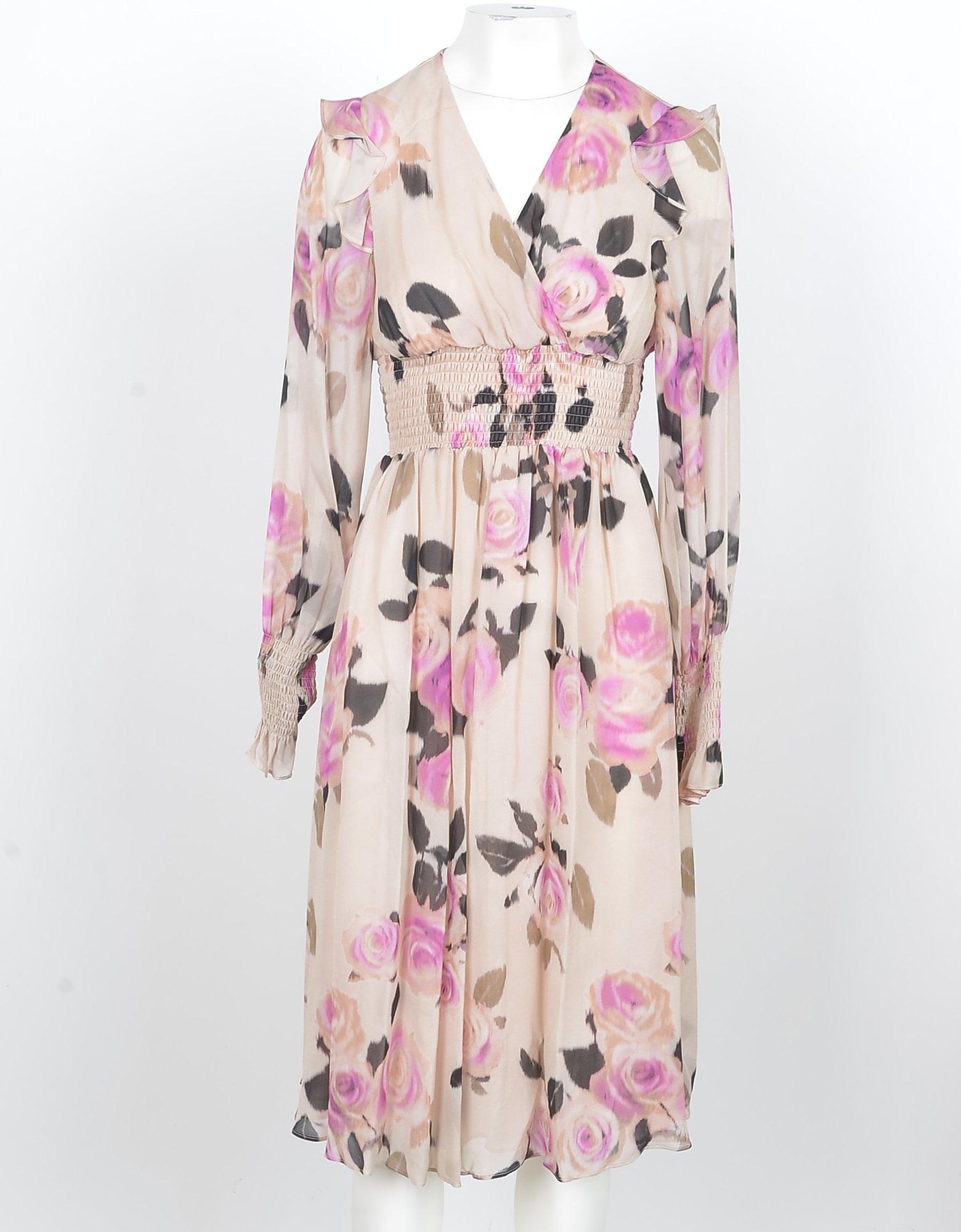 Pinko Designer Dresses & Jumpsuits, Beige and Pink Viscose Women's Midi Dress