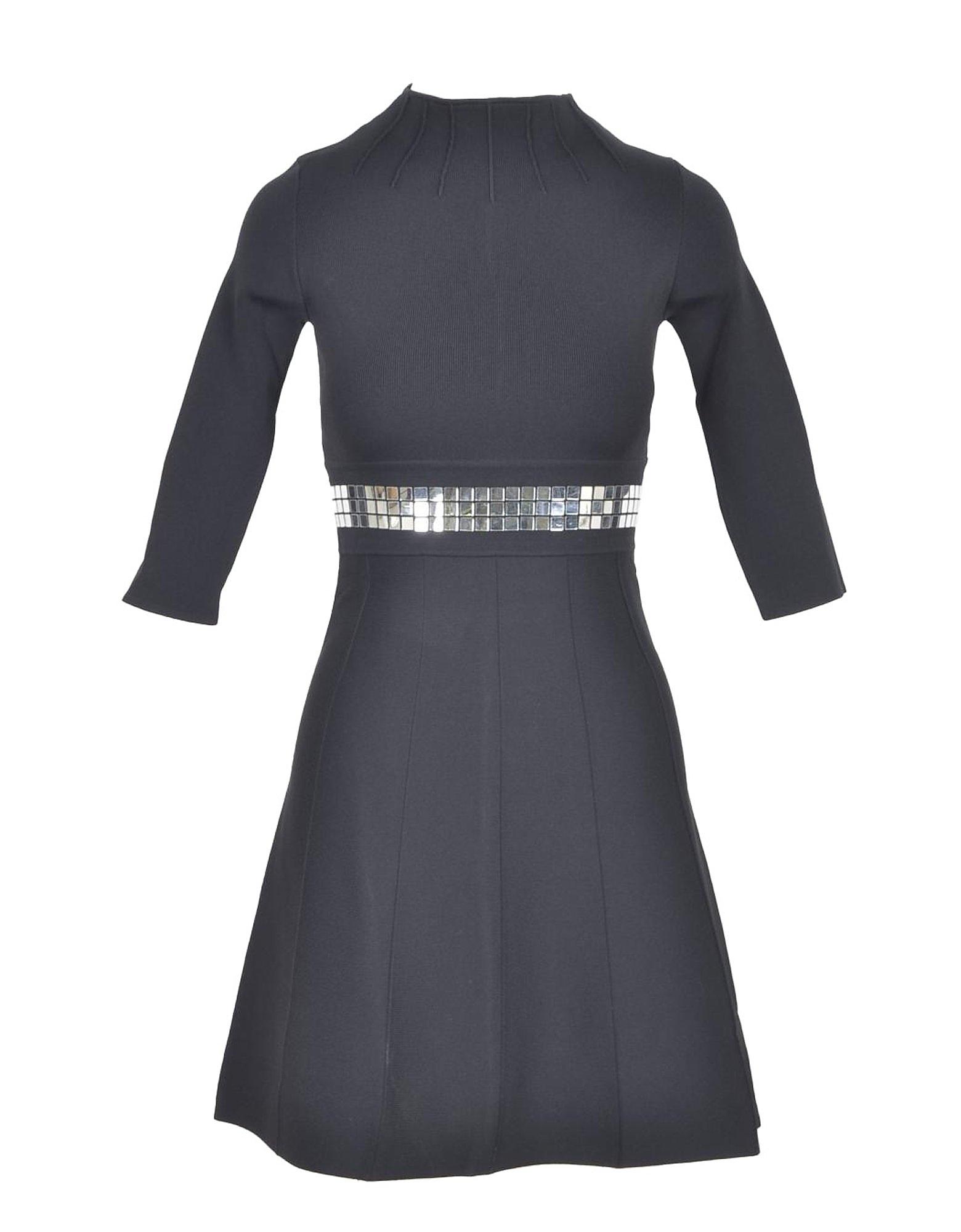 Pinko Designer Dresses & Jumpsuits, Black Viscose Blend Women's Dress with 3/4 Sleeve