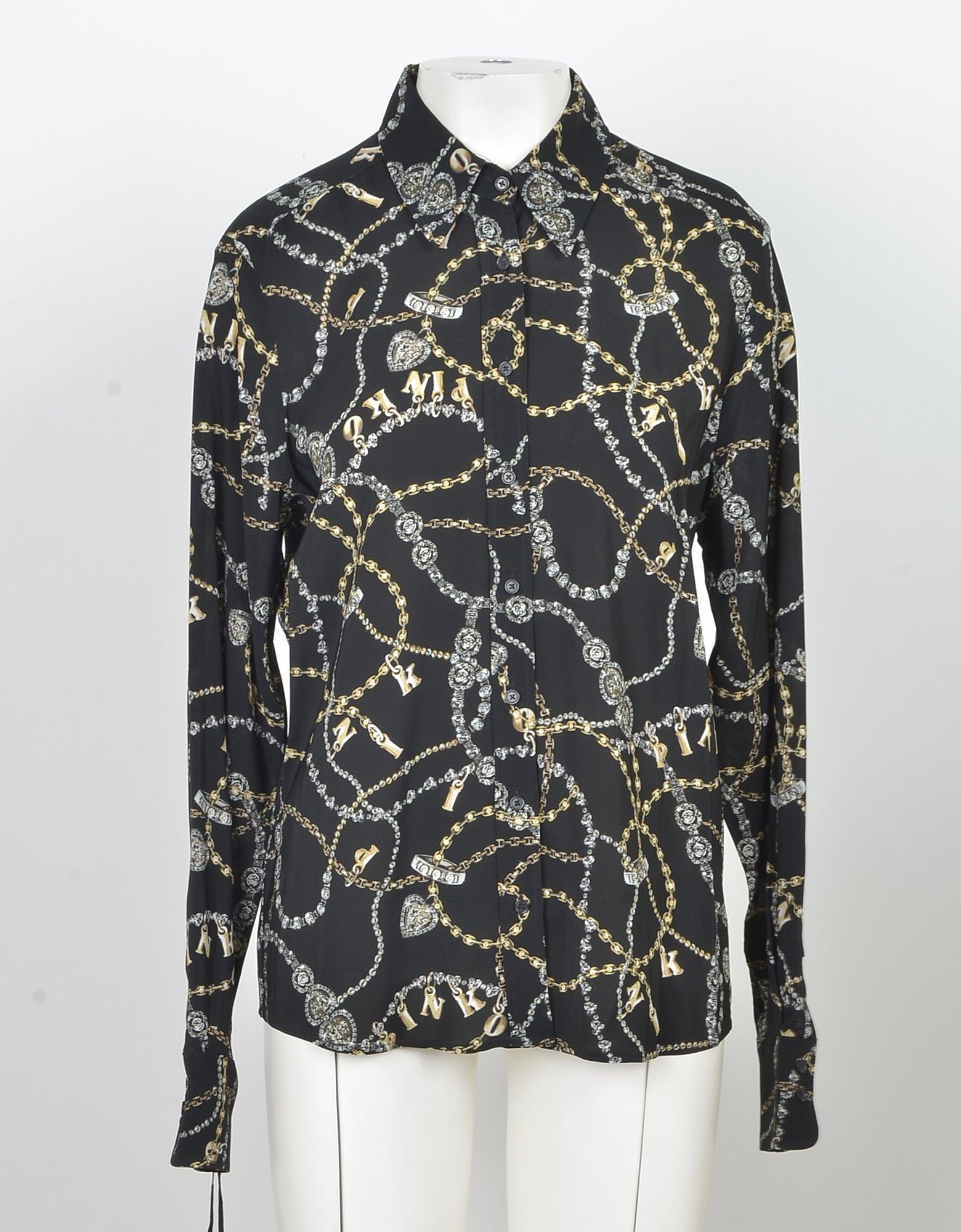 Pinko Designer Shirts, Black & Gold Printed Viscose Women's Shirt