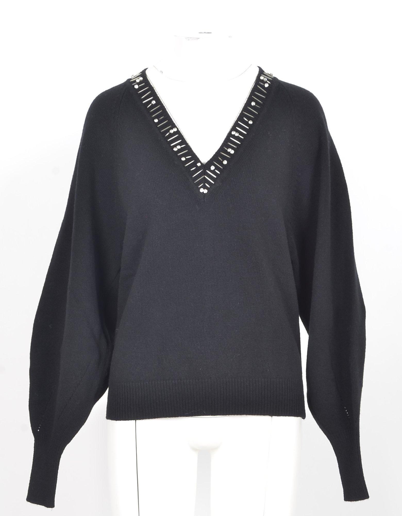 Pinko Designer Knitwear, Black Wool Women's V-Neck Sweater