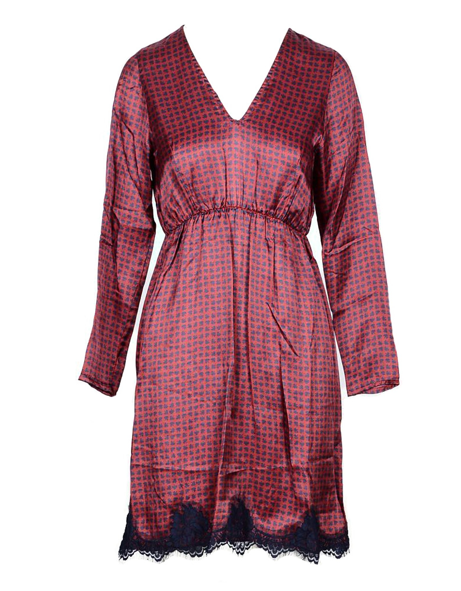 Pink Memories Designer Dresses & Jumpsuits, Red Viscose and Silk Blend Women's Mini Dress