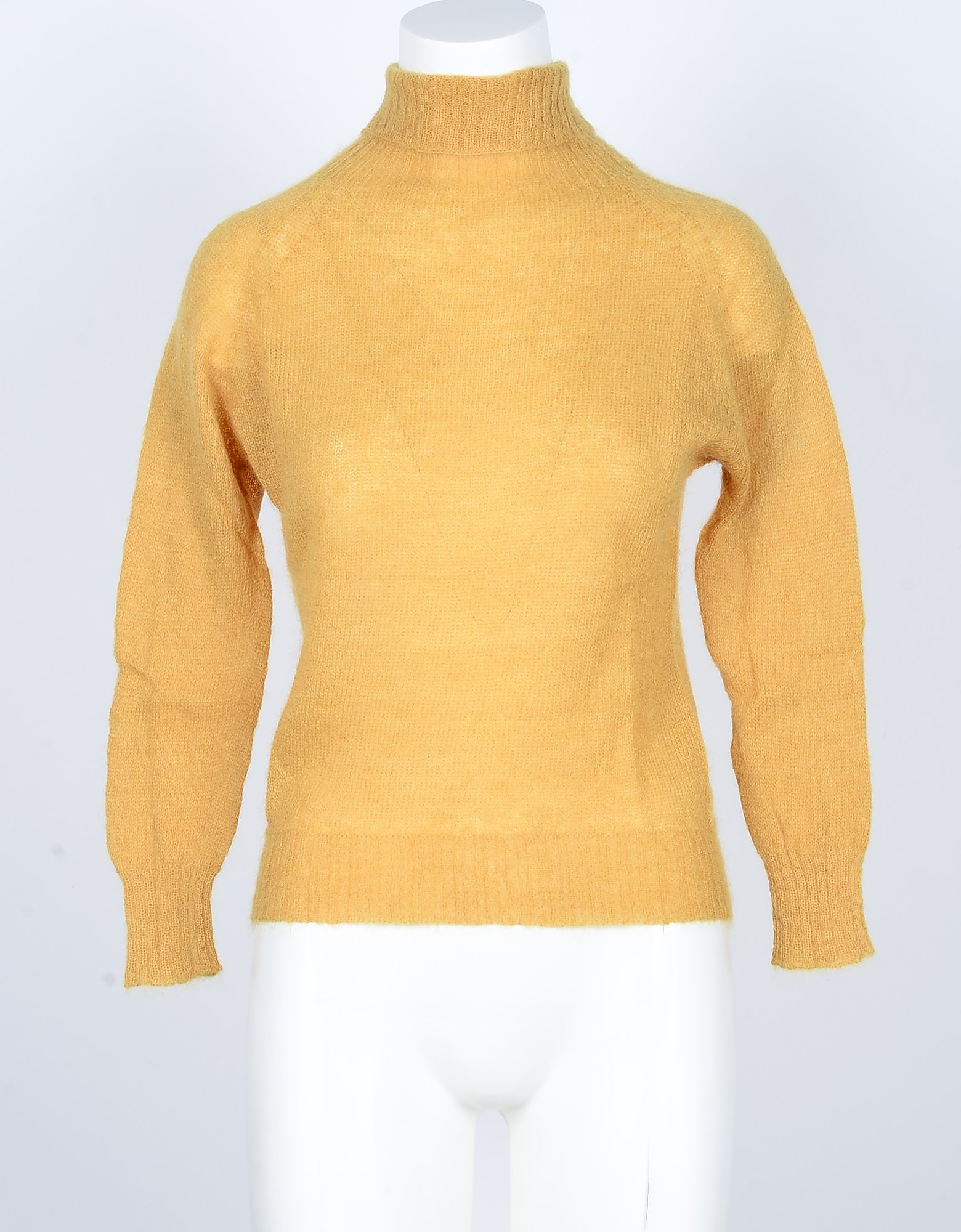 Pink Memories Designer Knitwear, Yellow Mohair Wool Blend Women's Turtleneck Sweater