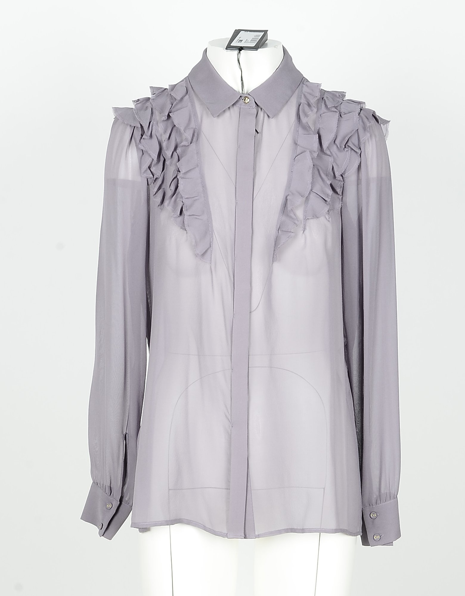 Patrizia Pepe Designer Shirts, Lilac Transparent Silk Women's Shirt