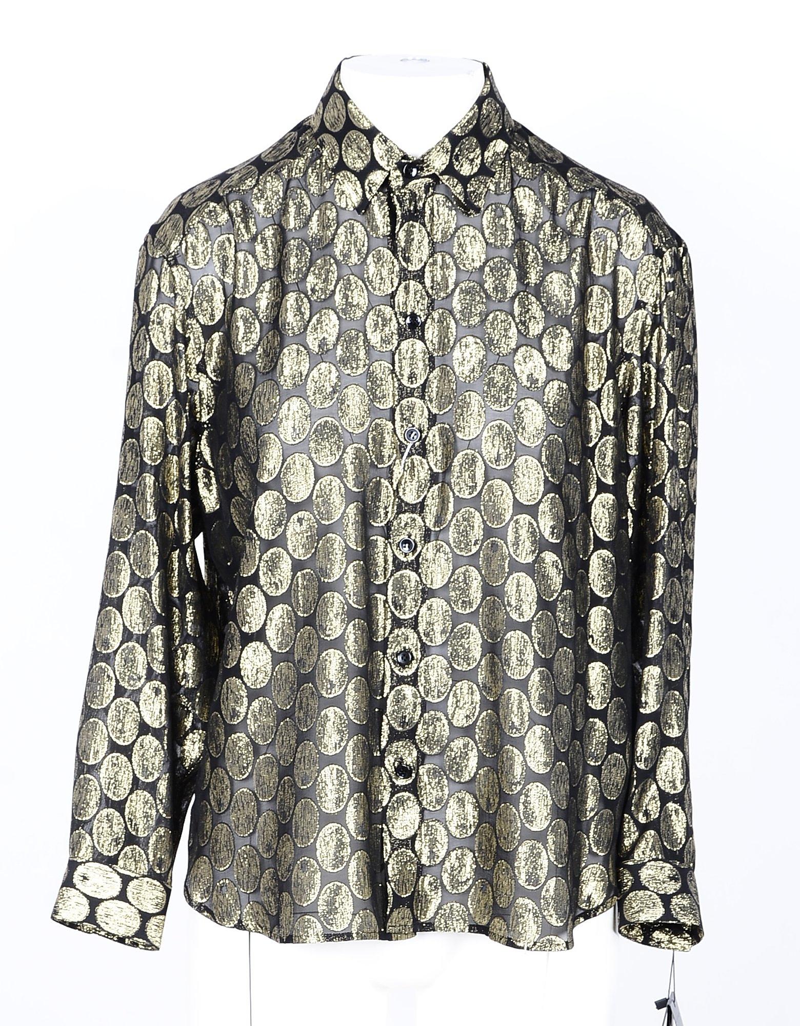 Saint Laurent Designer Shirts, Black/Gold Women's Viscose and Silk Shirt