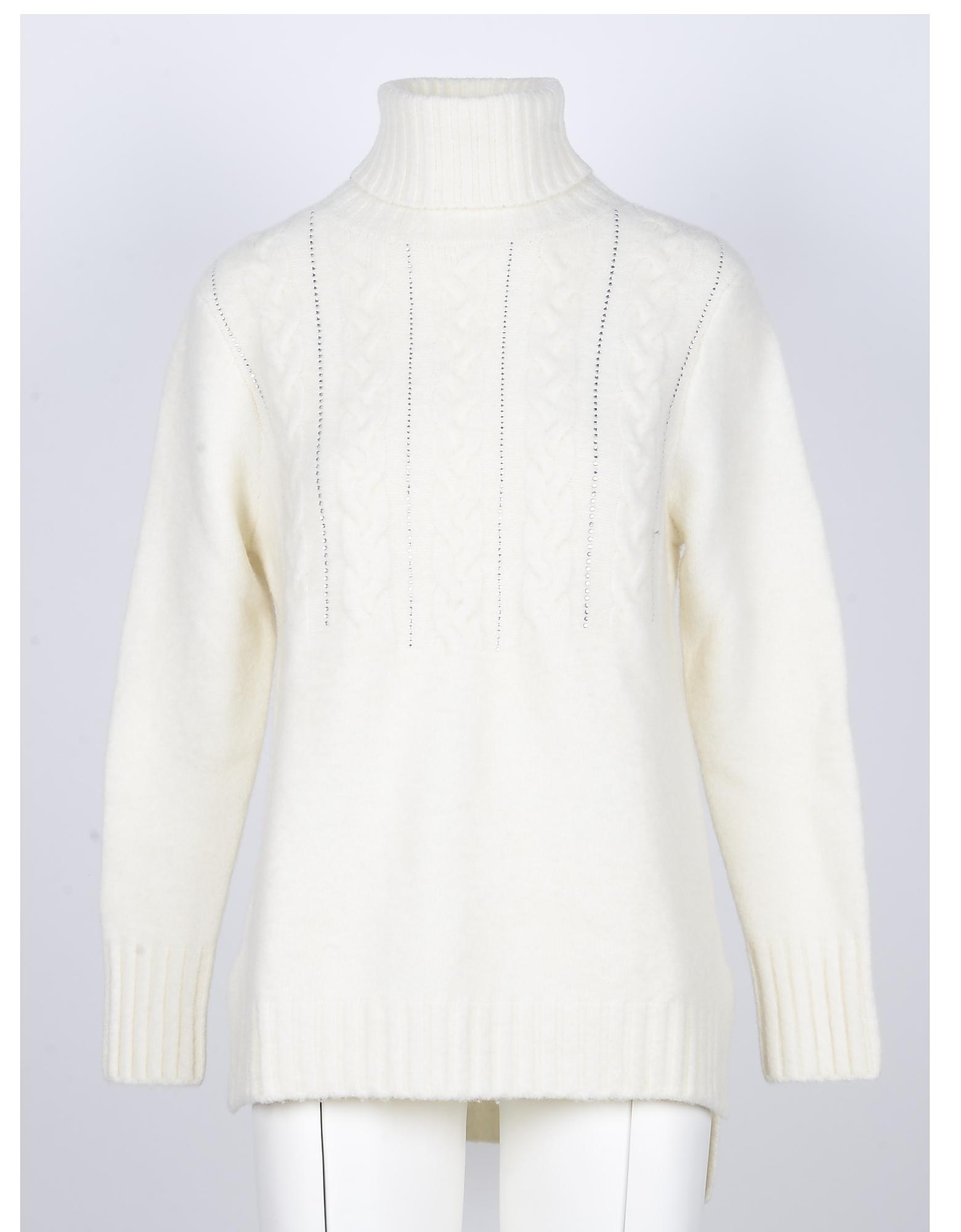 SNOBBY SHEEP Designer Knitwear, White Yak Wool Women's Turtleneck Sweater