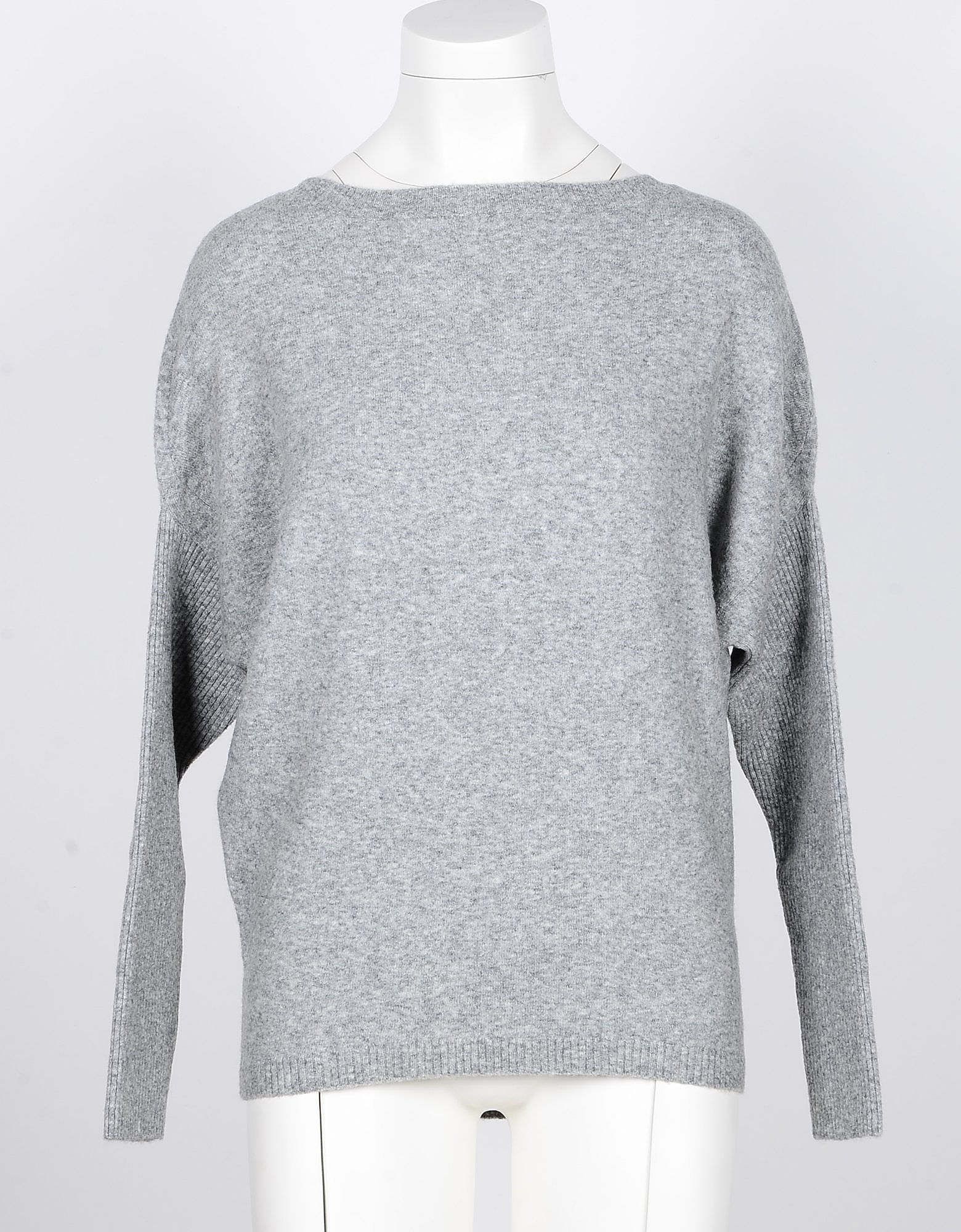 SNOBBY SHEEP Designer Knitwear, Gray Yak and Wool Blend Women's Sweater