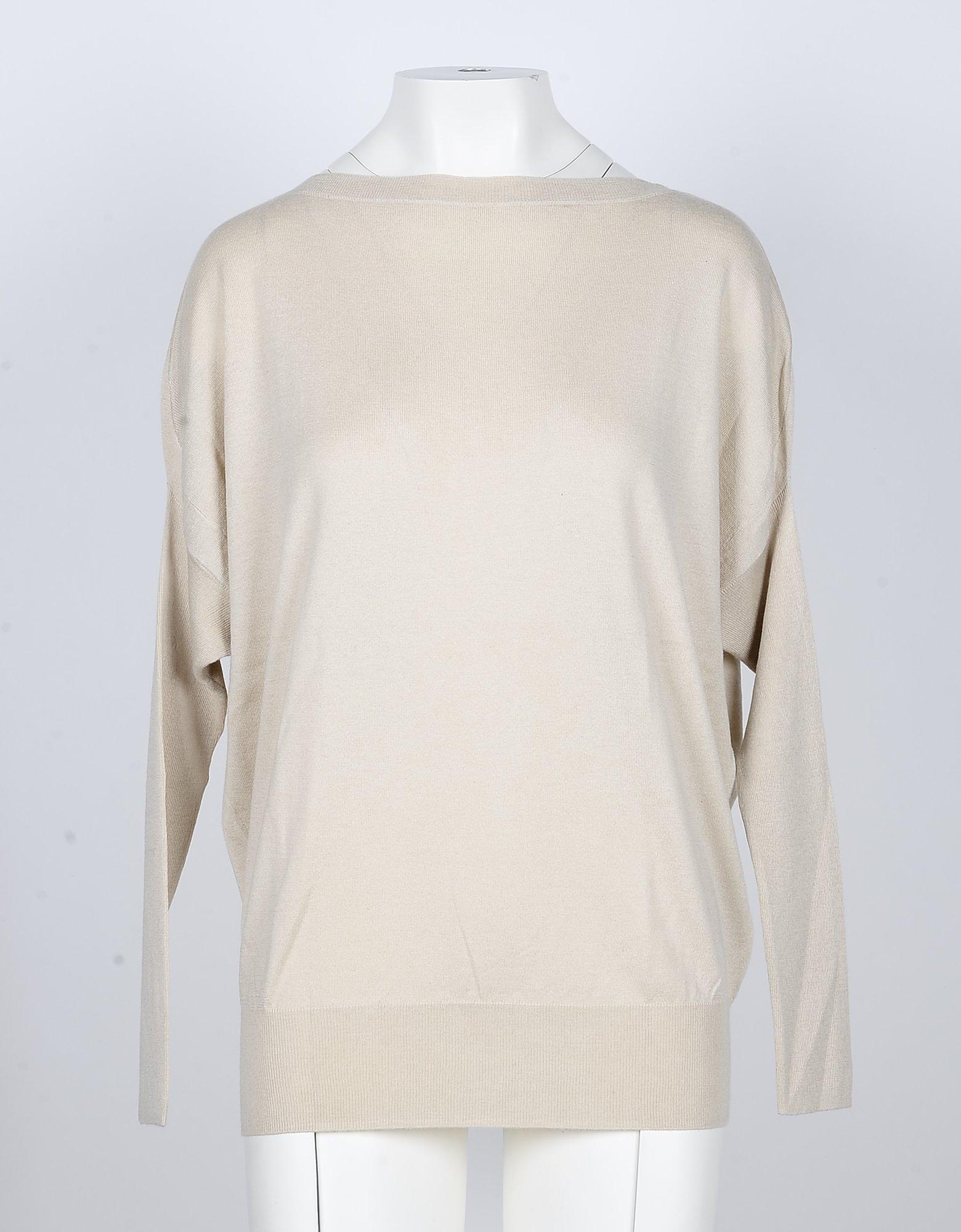 SNOBBY SHEEP Designer Knitwear, Beige Silk and Cashmere Blend Women's Sweater