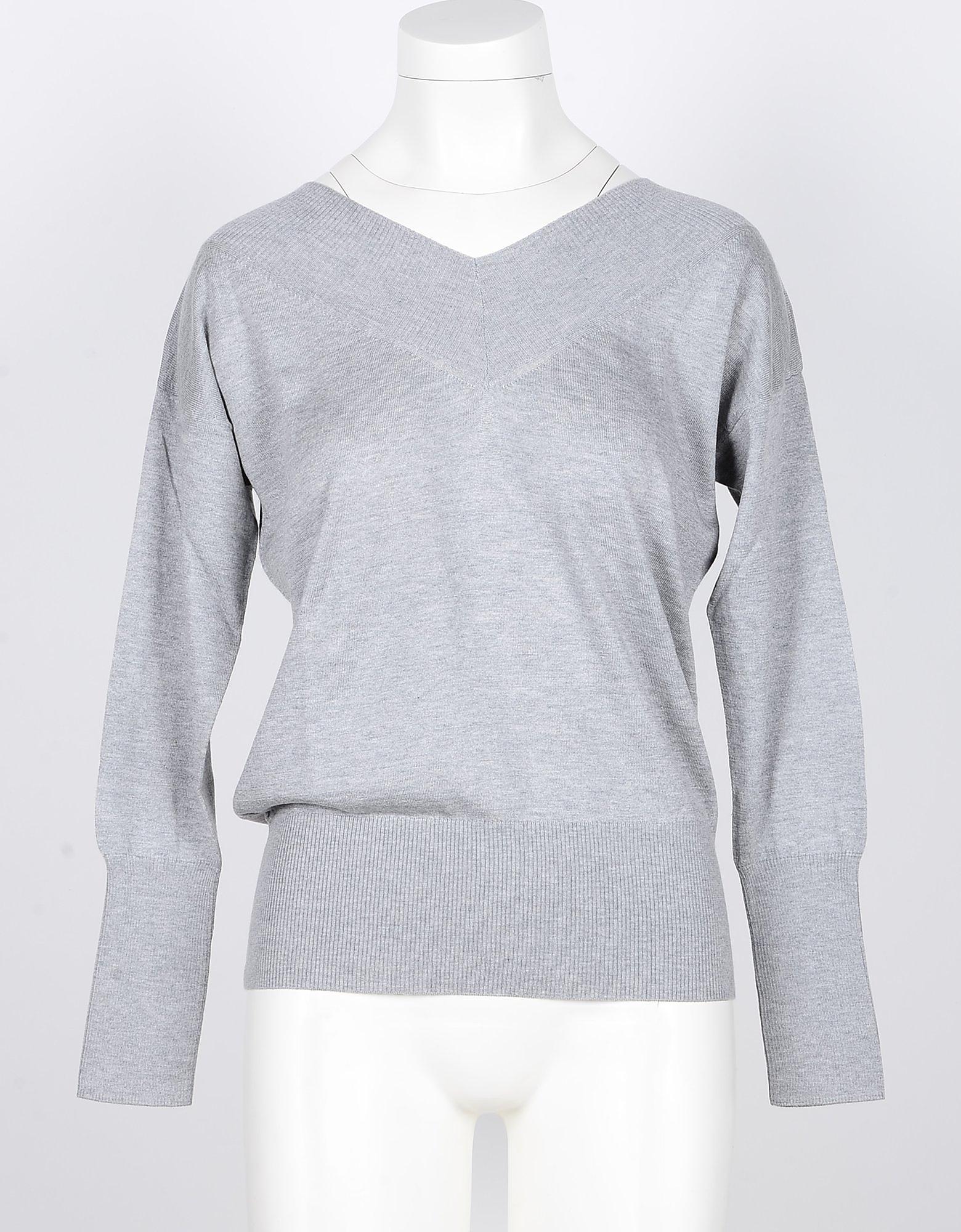 SNOBBY SHEEP Designer Knitwear, Light Gray Silk and Cashmere Blend Women's V-Neck Sweater