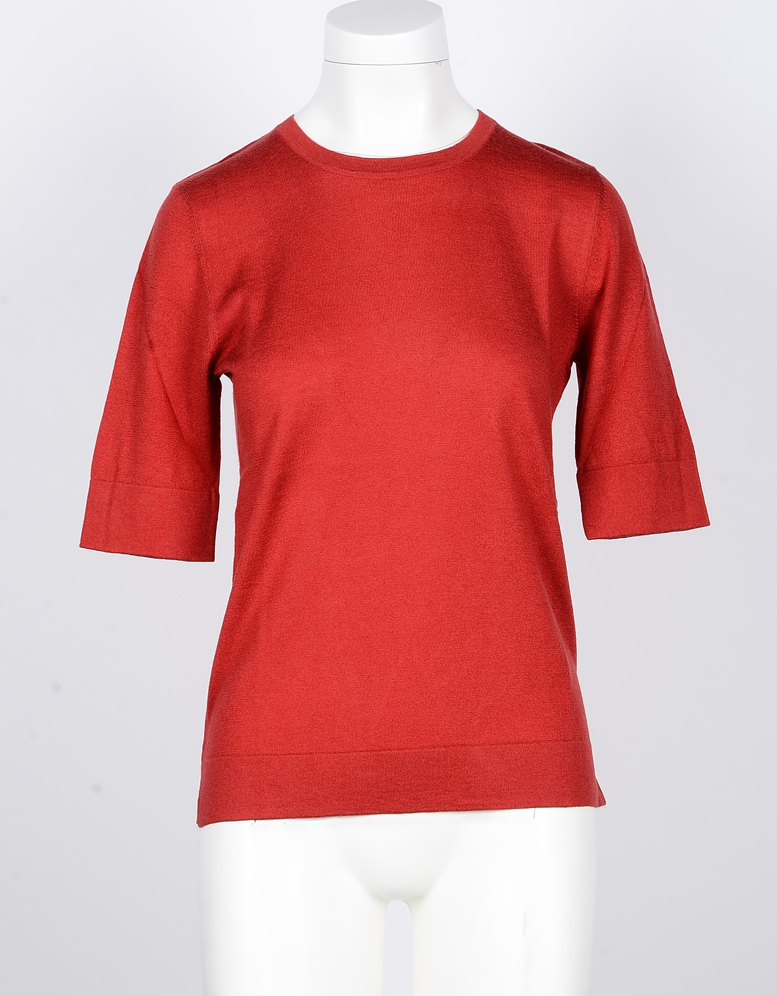SNOBBY SHEEP Designer Knitwear, Red Silk and Cashmere Blend Women's Sweater with 3/4 Sleeve