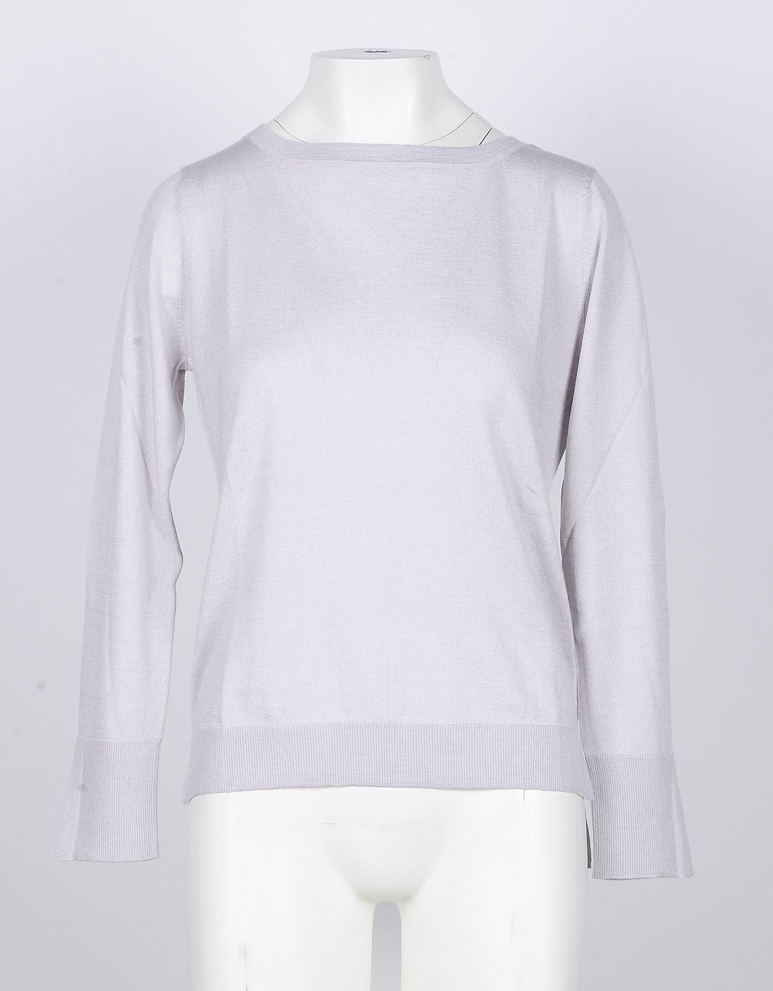 SNOBBY SHEEP Designer Knitwear, Ice Gray Silk/Cashmere Blend Women's Sweater