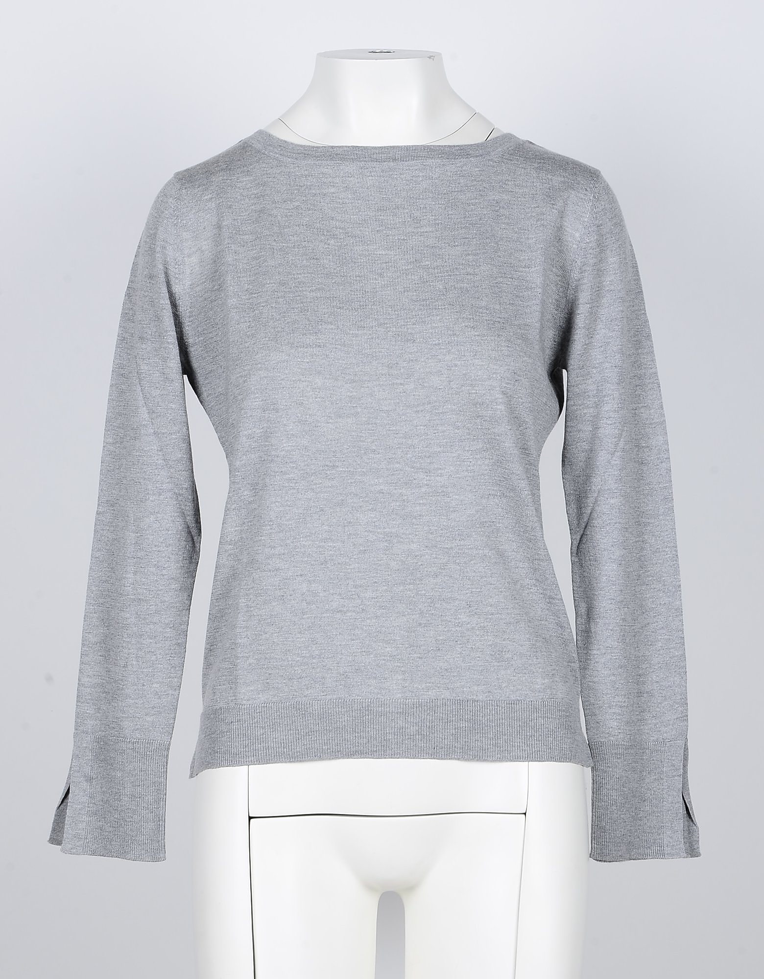 SNOBBY SHEEP Designer Knitwear, Light Gray Silk/Cashmere Blend Women's Sweater