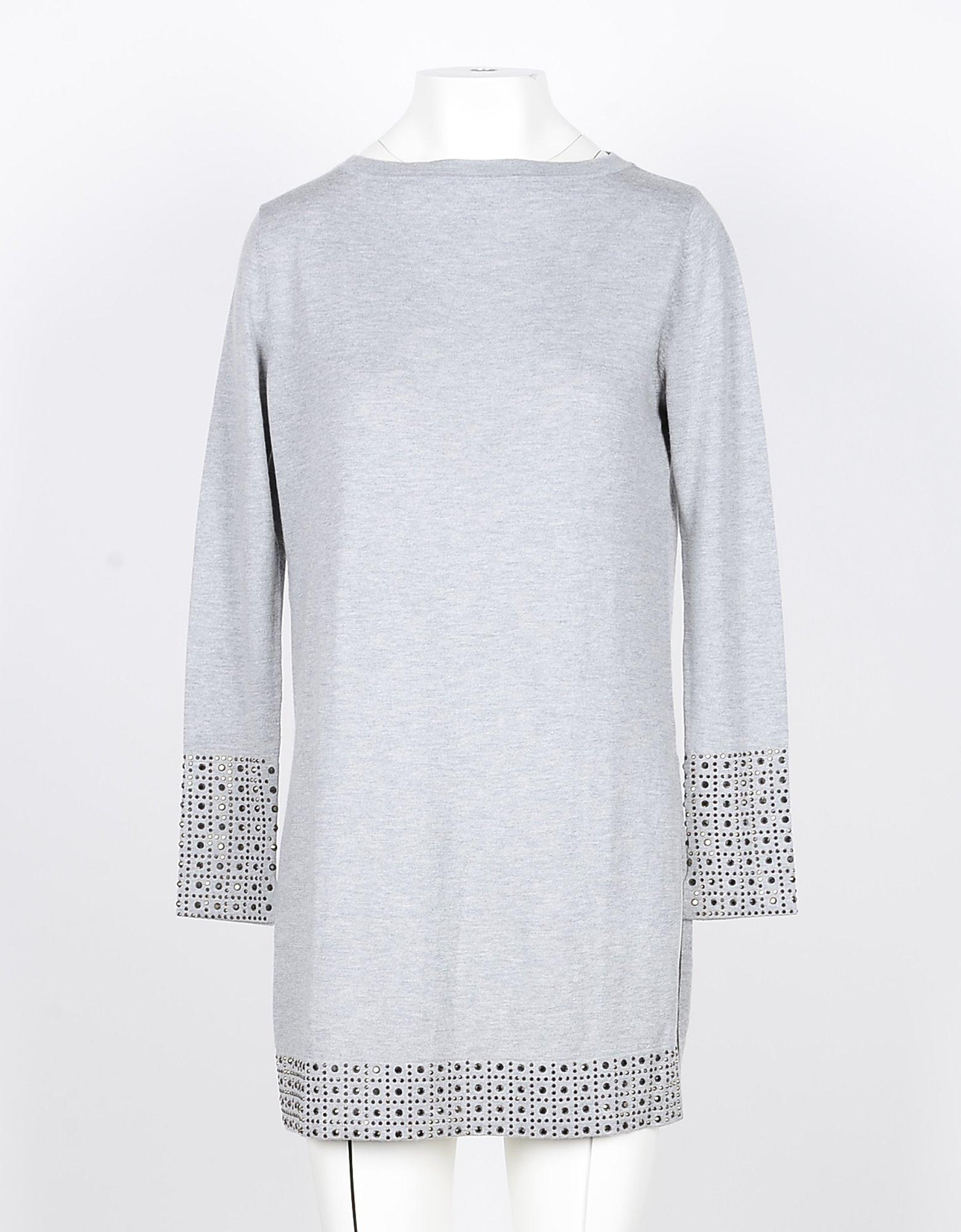 SNOBBY SHEEP Designer Knitwear, Light Gray Silk and Cashmere Blend Women's Long Sweater