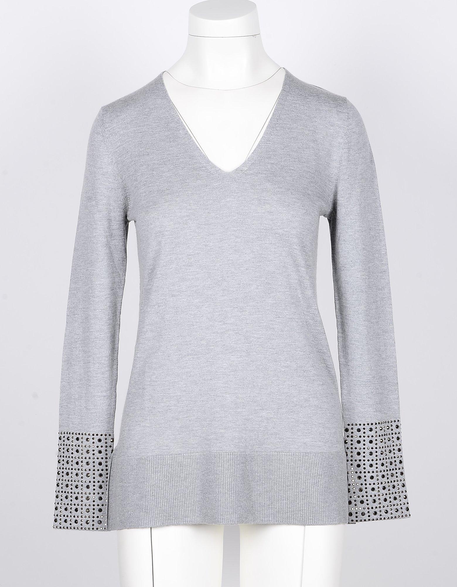 SNOBBY SHEEP Designer Knitwear, Light Gray Silk & Cashmere Women's V-Neck Sweater w/Crystals