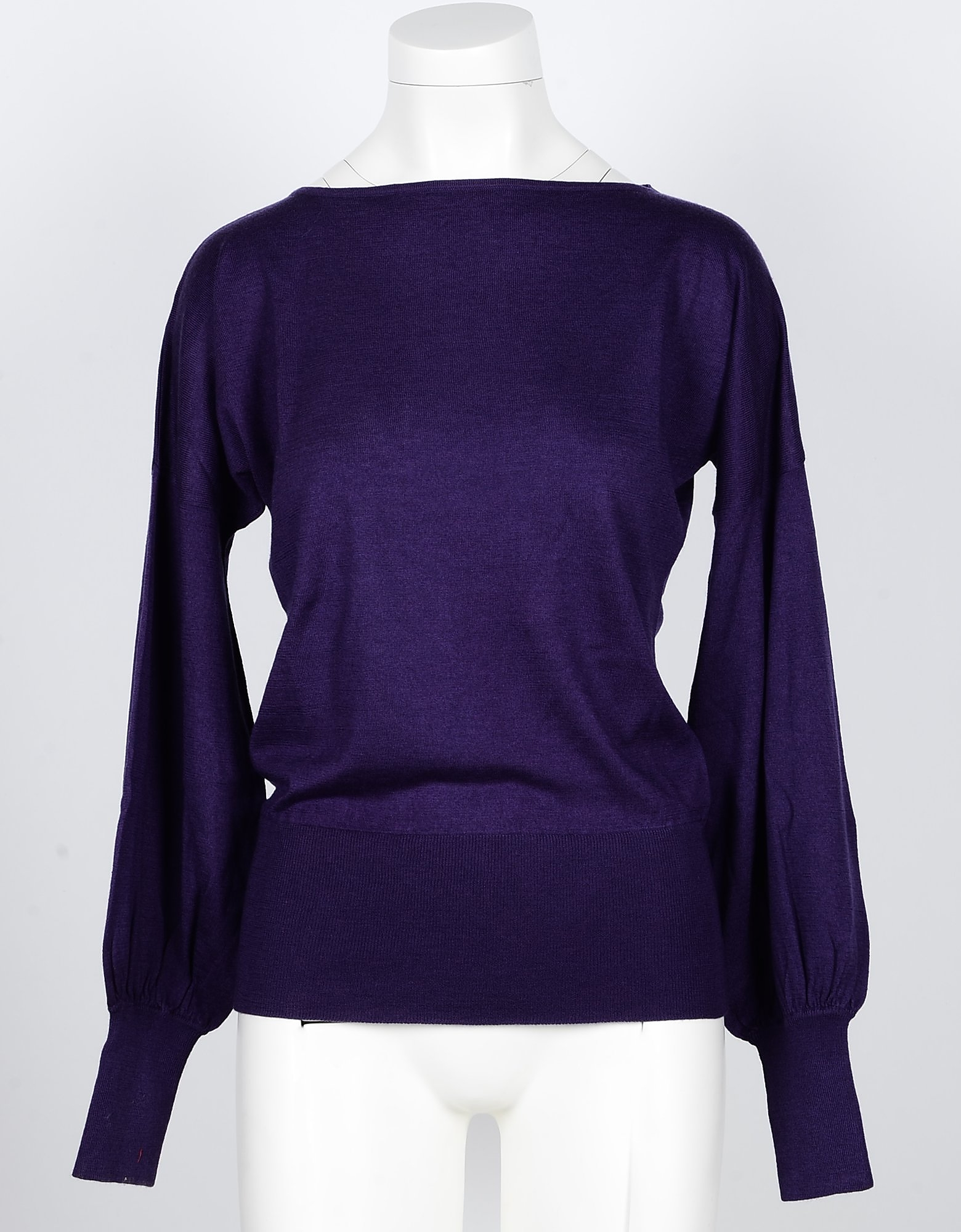 SNOBBY SHEEP Designer Knitwear, Violet Silk and Cashmere Blend Women's Sweater w/Puff Sleeve