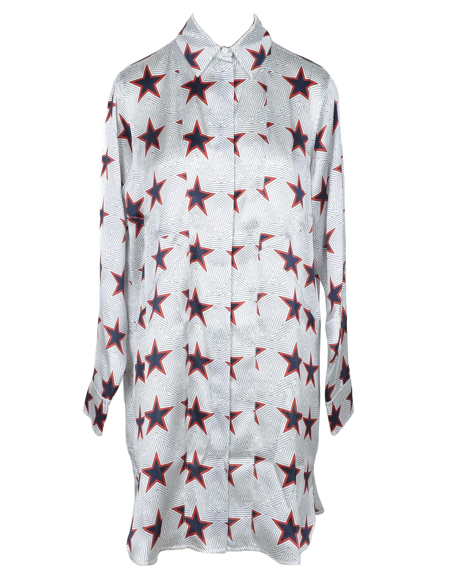 SportMax Designer Dresses & Jumpsuits, Stars Print Pure Silk Women's Shirt Dress