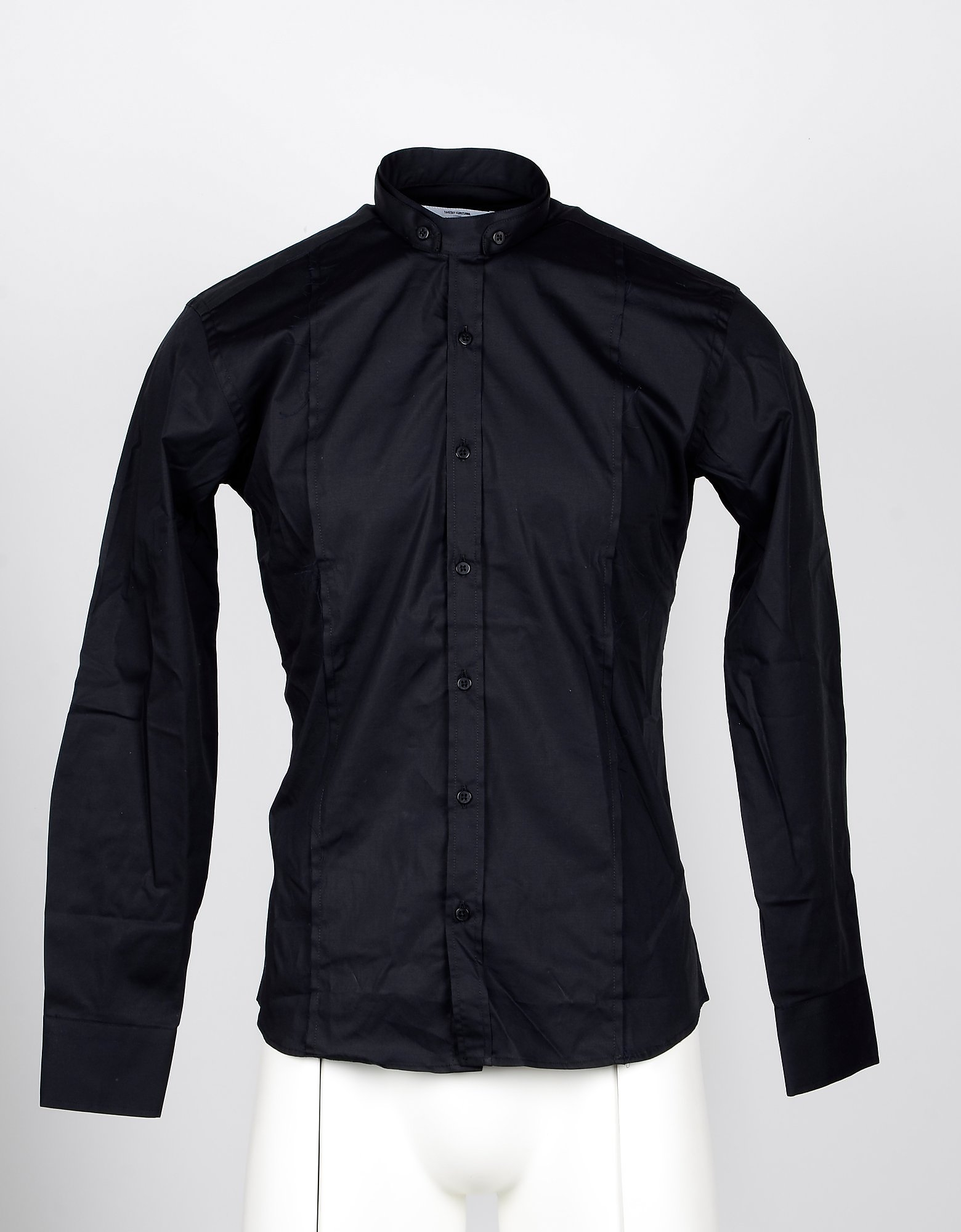 Takeshy Kurosawa Designer Shirts, Black Cotton Slim-Fit Men's Shirt