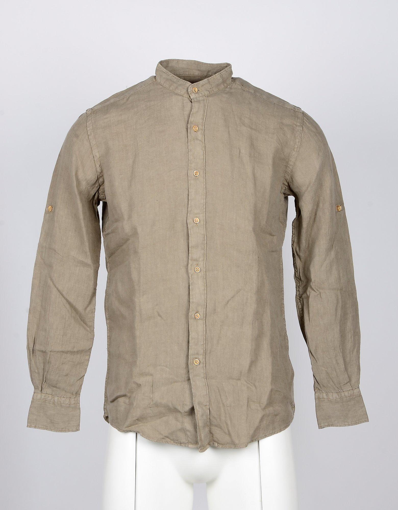 Takeshy Kurosawa Designer Shirts, Mandarin Collar Beige Linen Men's Shirt
