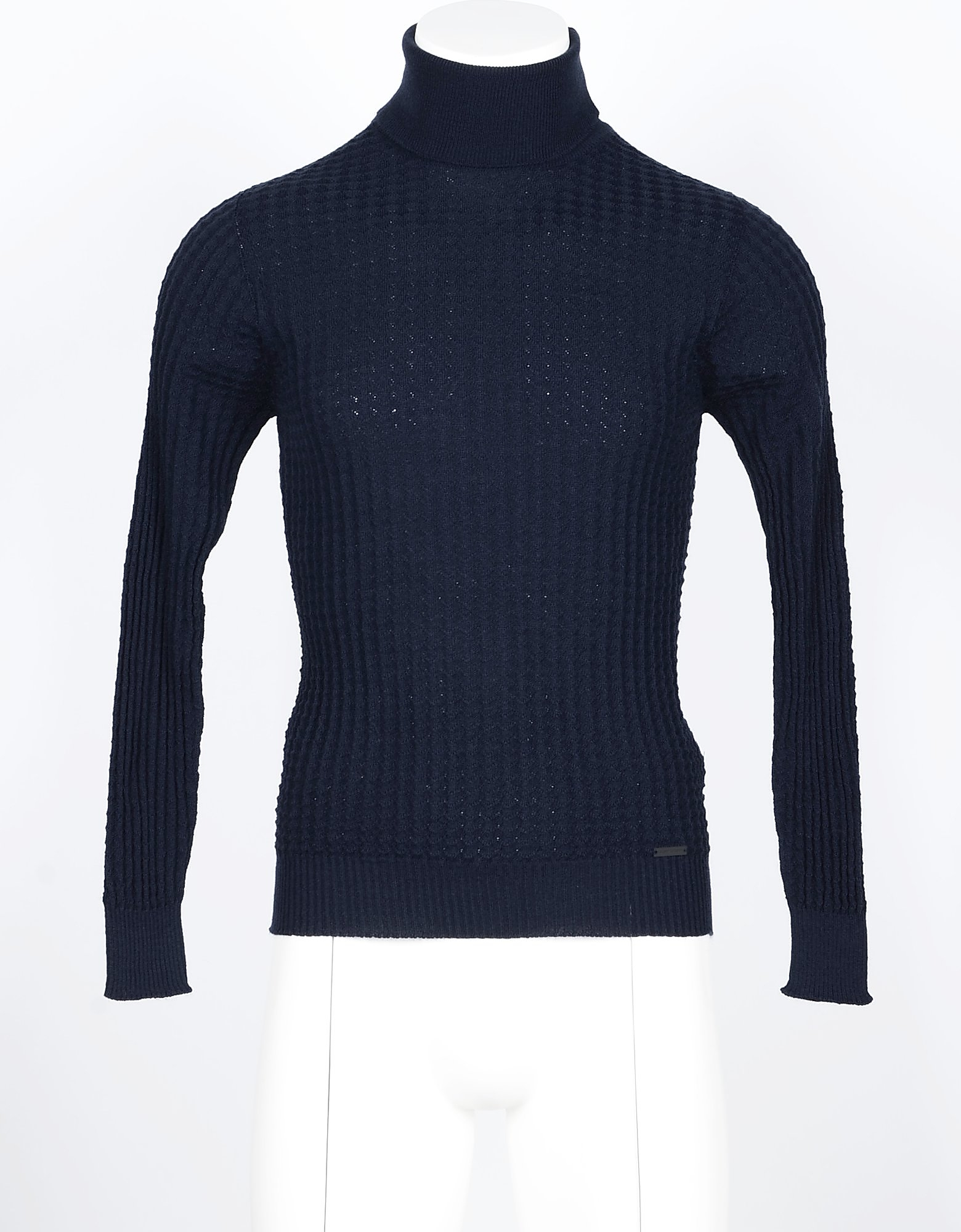 Takeshy Kurosawa Designer Knitwear, Blue Men's Turtleneck Sweater