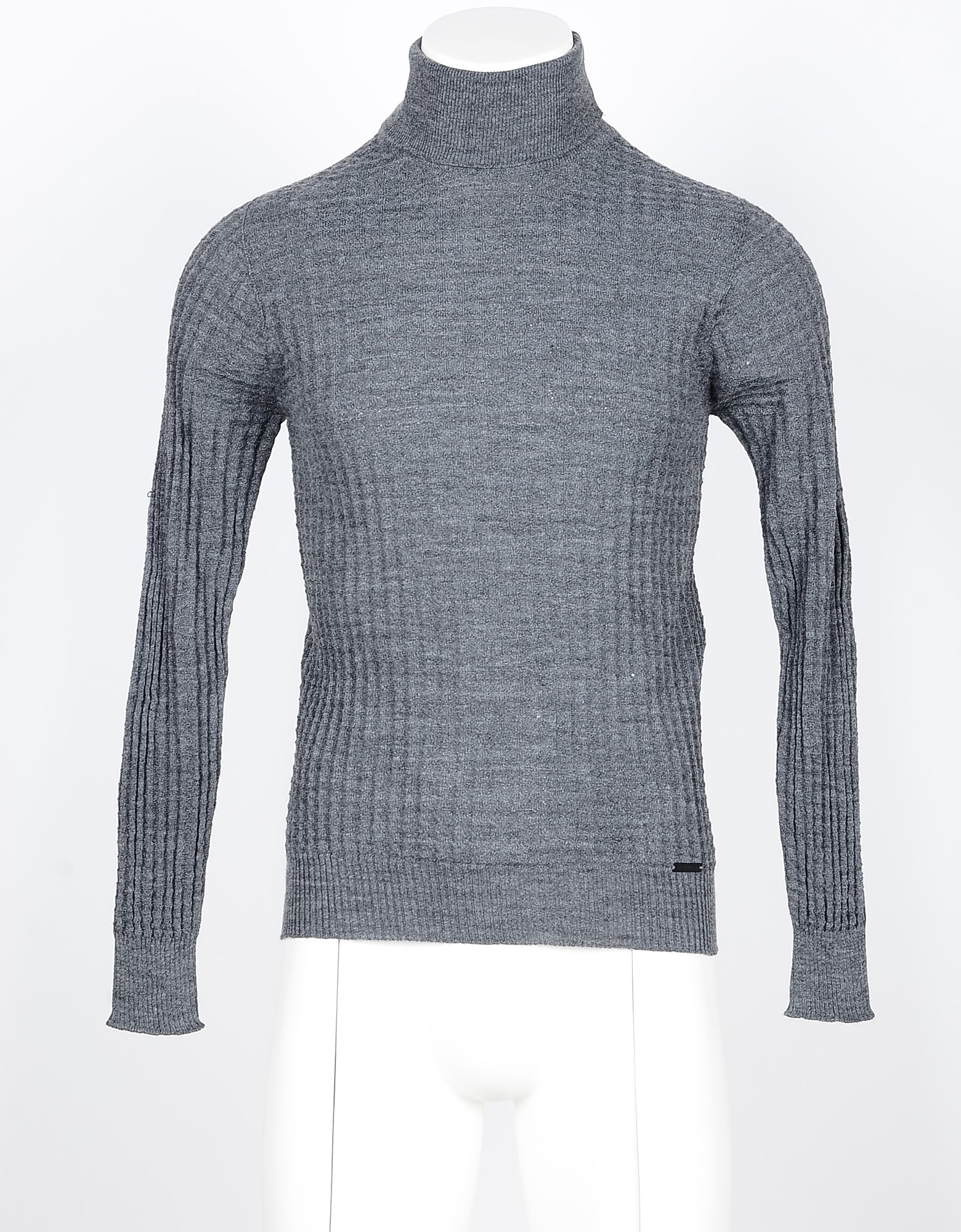 Takeshy Kurosawa Designer Knitwear, Gray Blue Men's Turtleneck Sweater