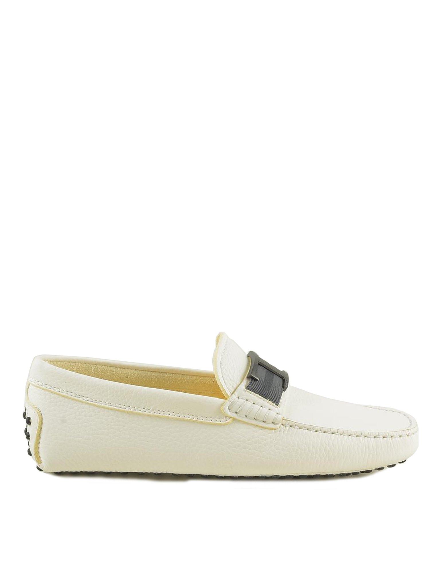 Tod's Designer Shoes, Men's White Loafer Shoes