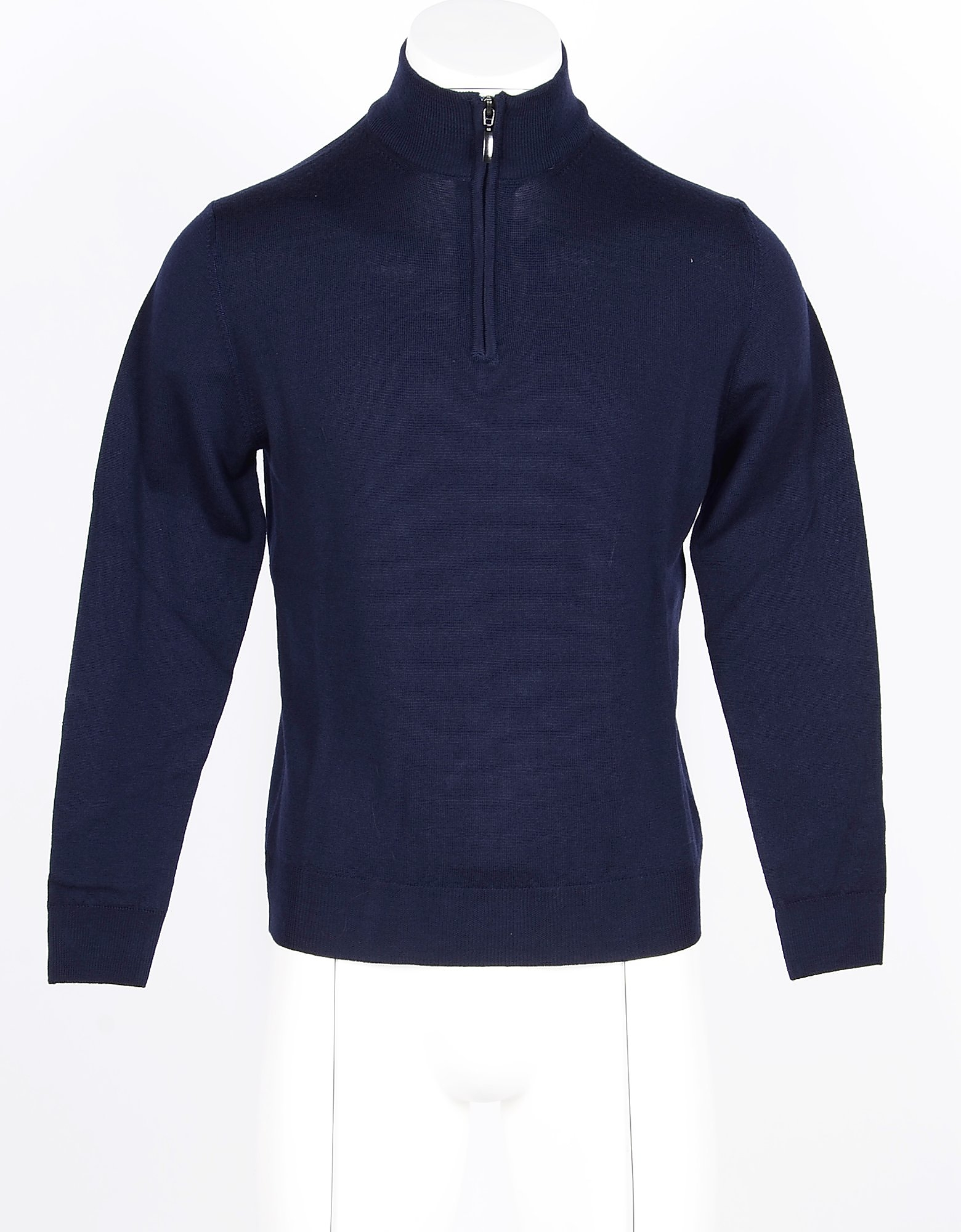 Twelve Style Division Designer Knitwear, Blue Merino Wool Men's Sweater w/Zip Collar