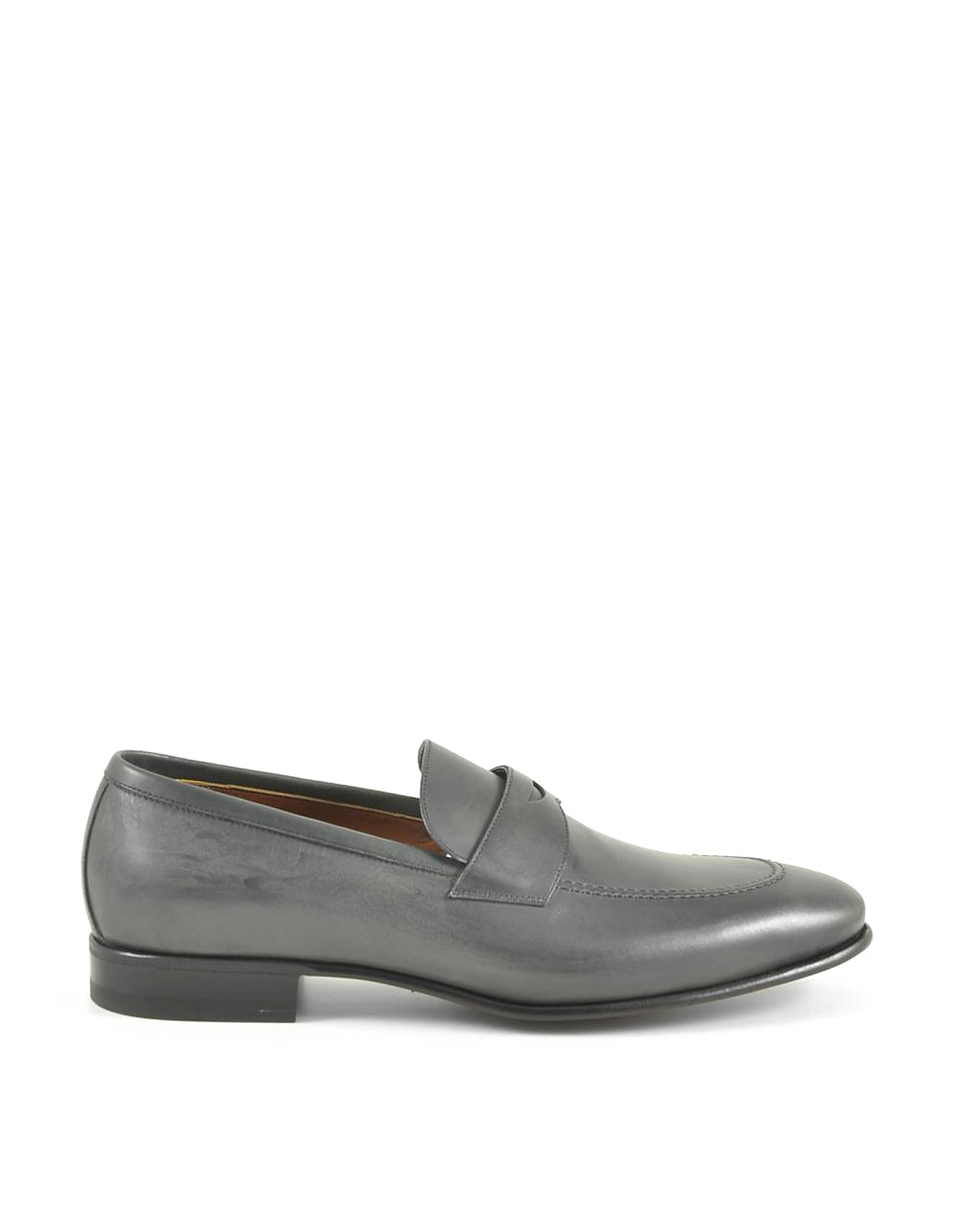 A.Testoni Designer Shoes, Men's Gray Loafer Shoes