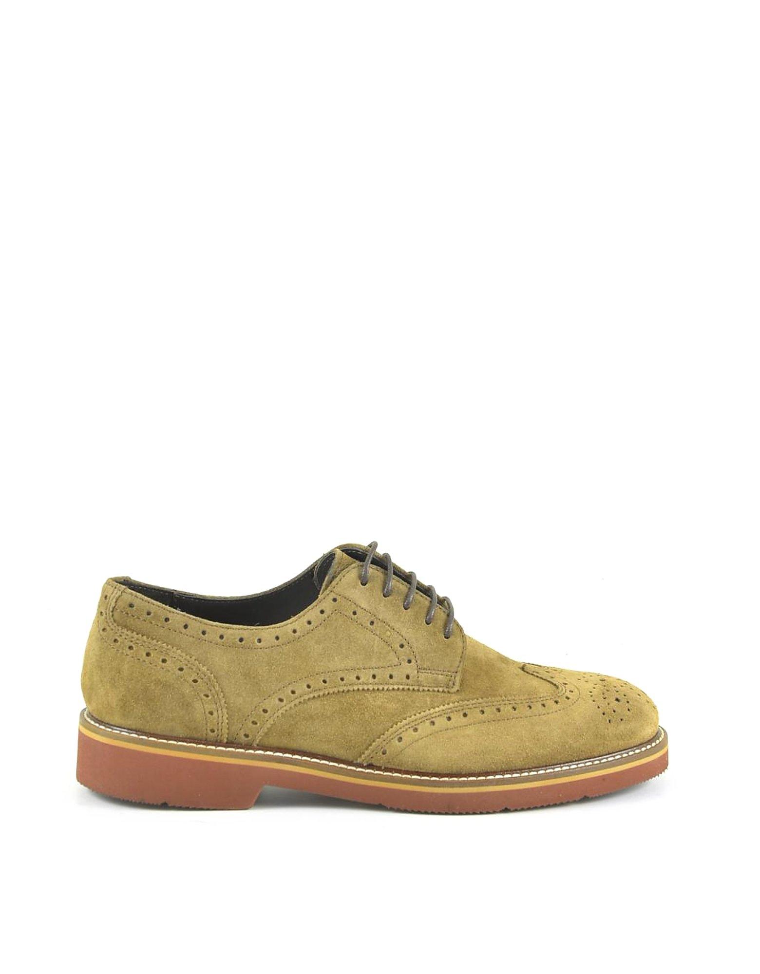 A.Testoni Designer Shoes, Men's Brown Suede Derby Shoes