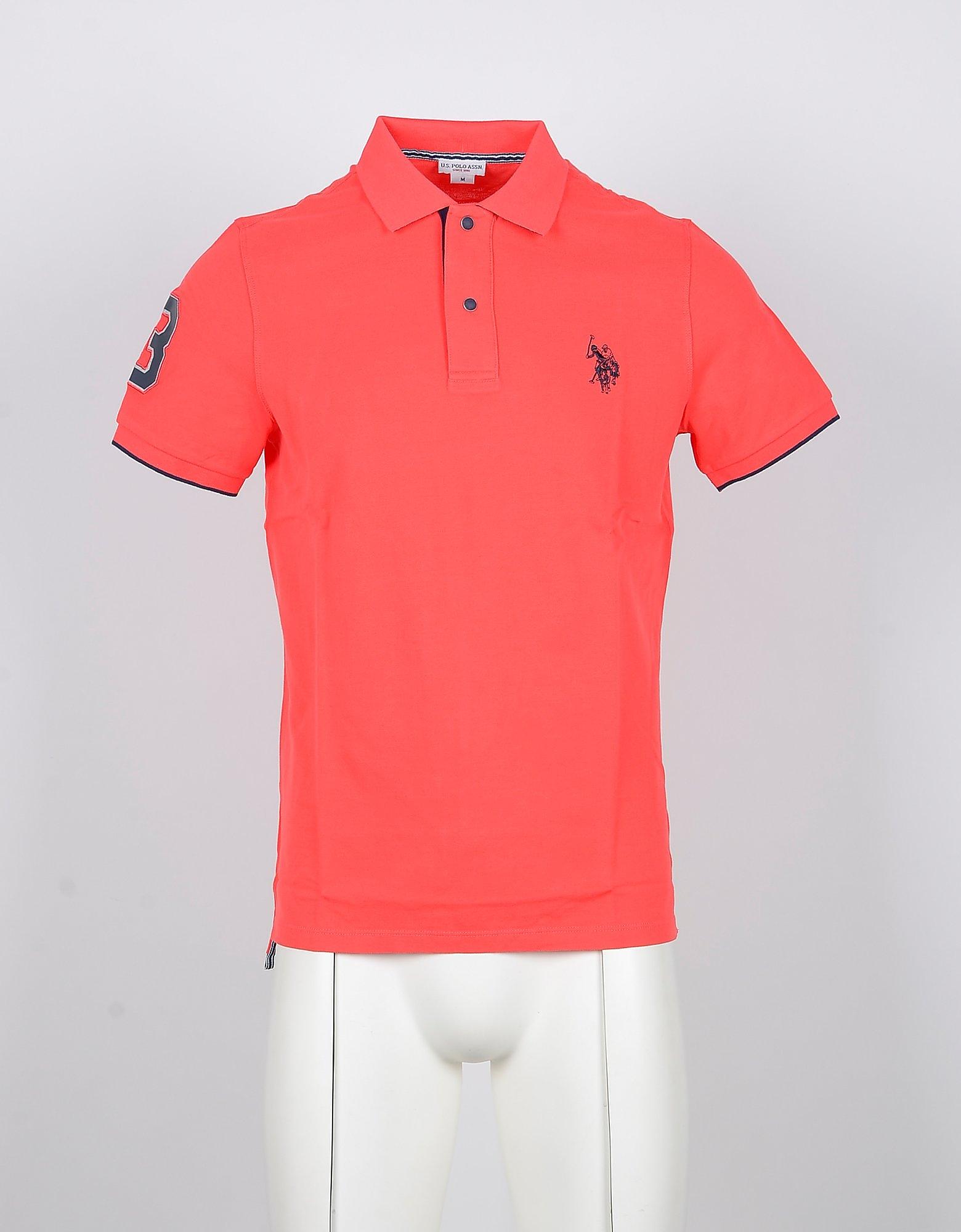 U.S. Polo Assn. Designer Polo Shirts, Bright Orange Cotton Men's Polo Shirt