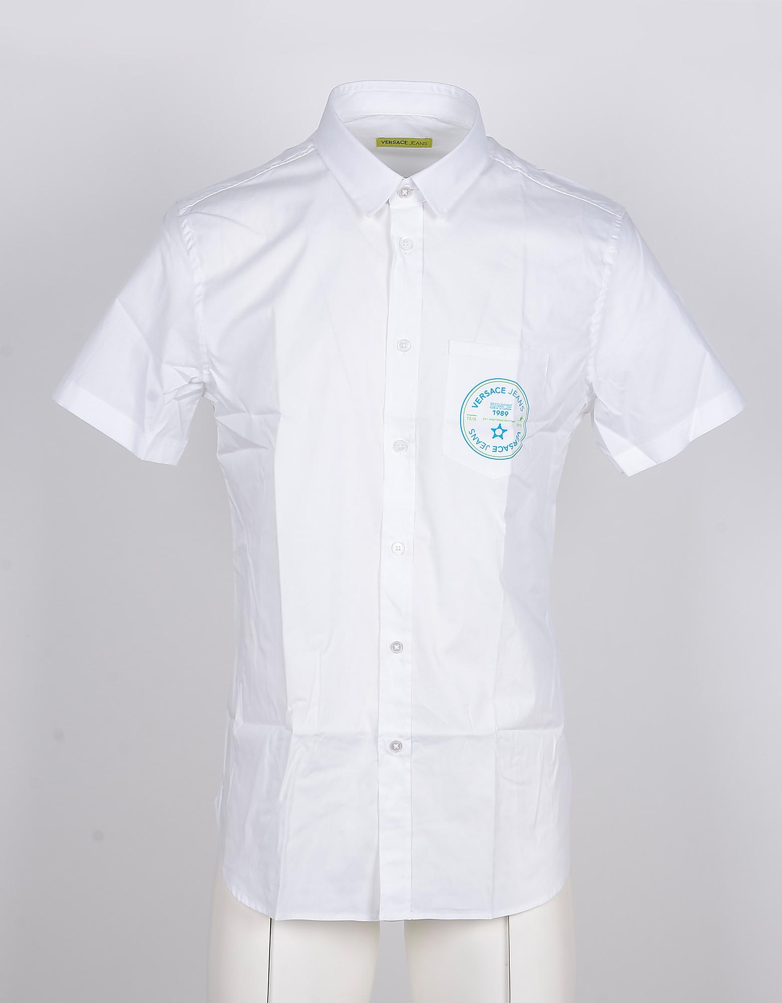 Versace Jeans Designer Shirts, Short-Sleeved White Cotton Men's Shirt