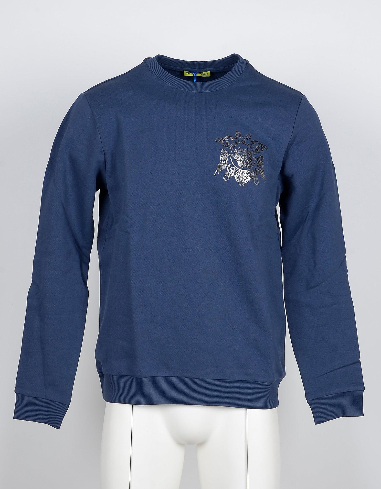 Versace Jeans Designer Sweatshirts, Blue Cotton Signature Men's Sweatshirt