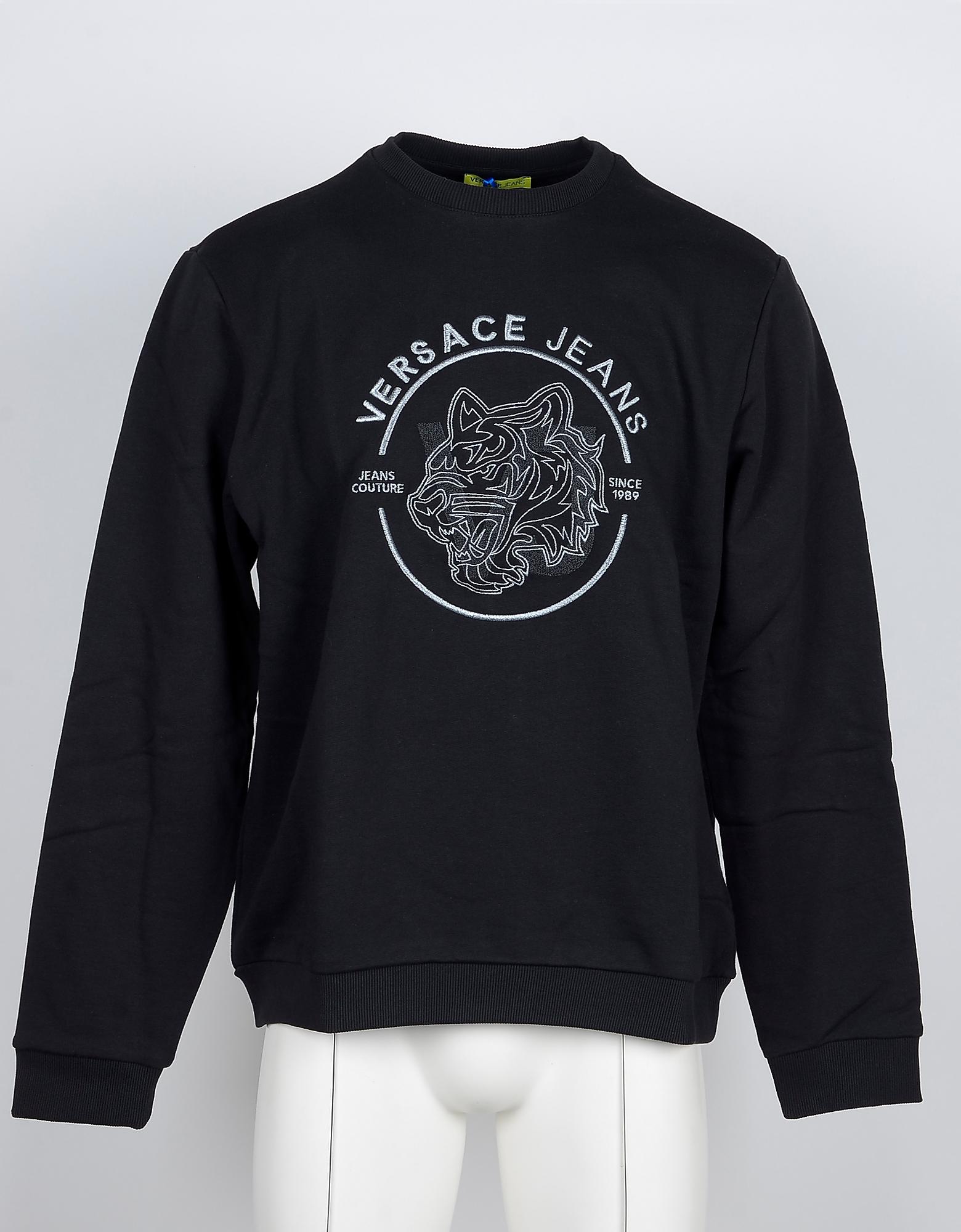 Versace Jeans Designer Sweatshirts, Black Cotton Signature Men's Sweatshirt