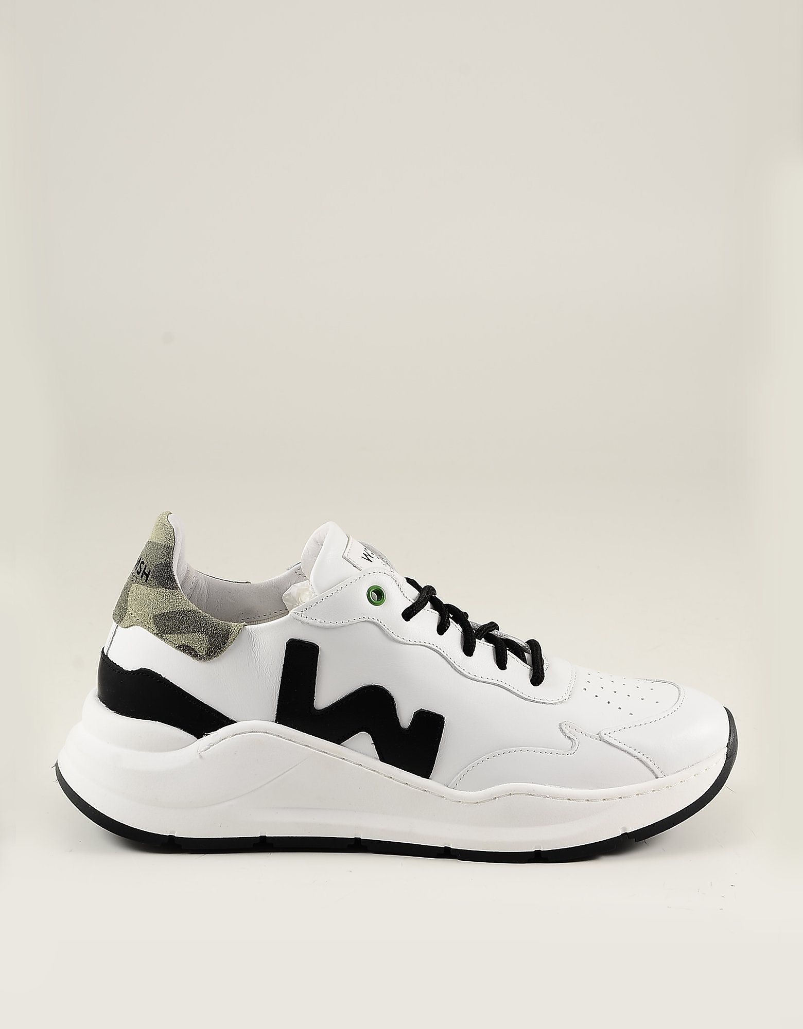 WOMSH Designer Shoes, White Leather Men's Sneakers