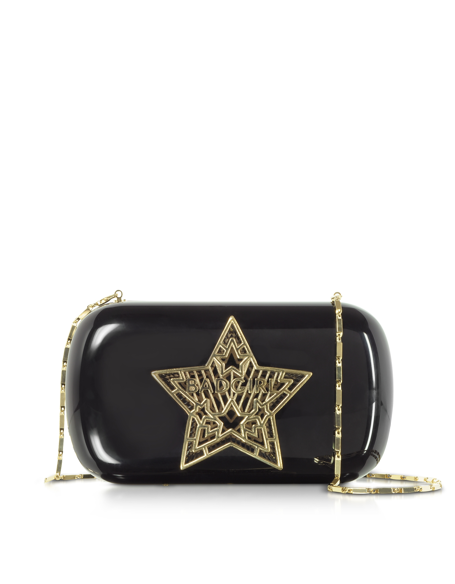 Bad Girl Clutch in Plexiglass Nero con Stella 3D