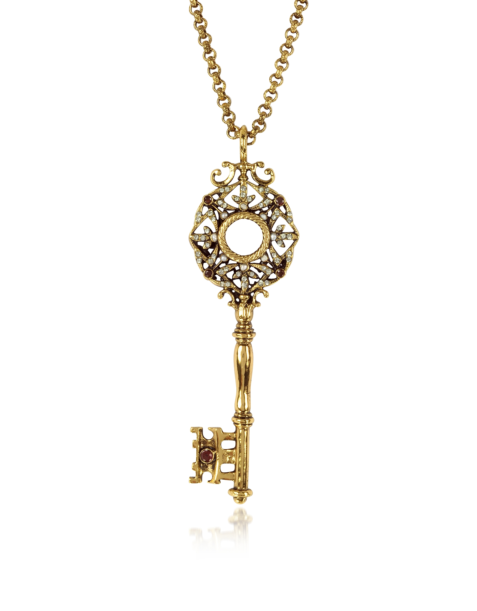 Brass Key Long Necklace