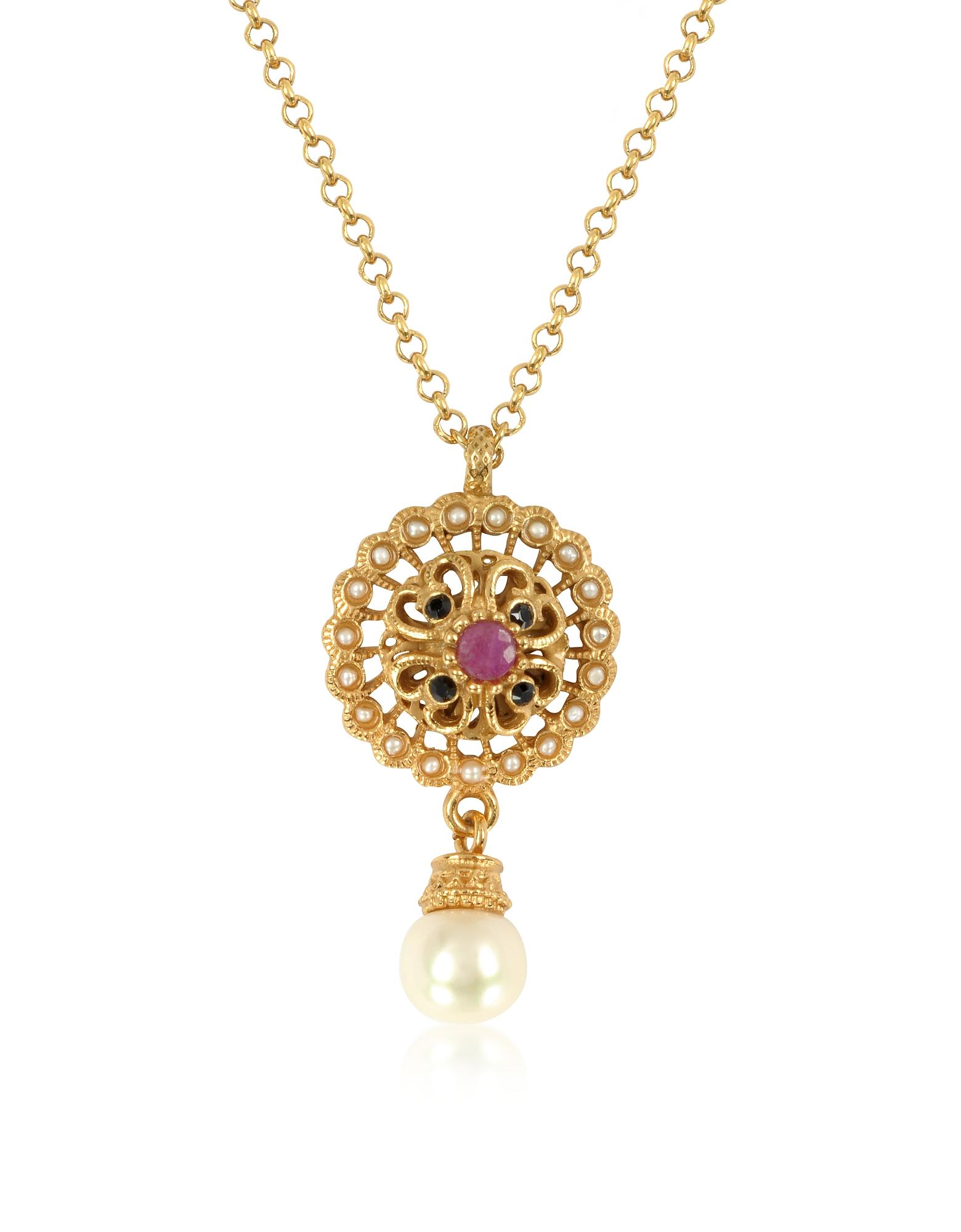 Alcozer & J Necklaces, Mandala Necklace w/Pearl & Gemstones