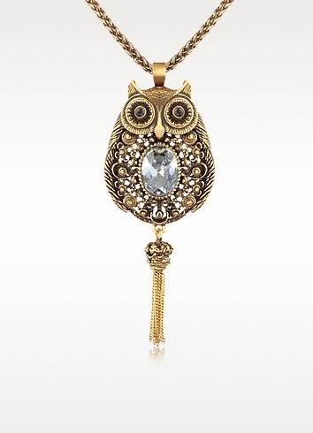 Owl - Brass & Crystal Pendant Necklace - Alcozer & J