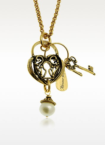 Heart & Key Long Necklace - Alcozer & J