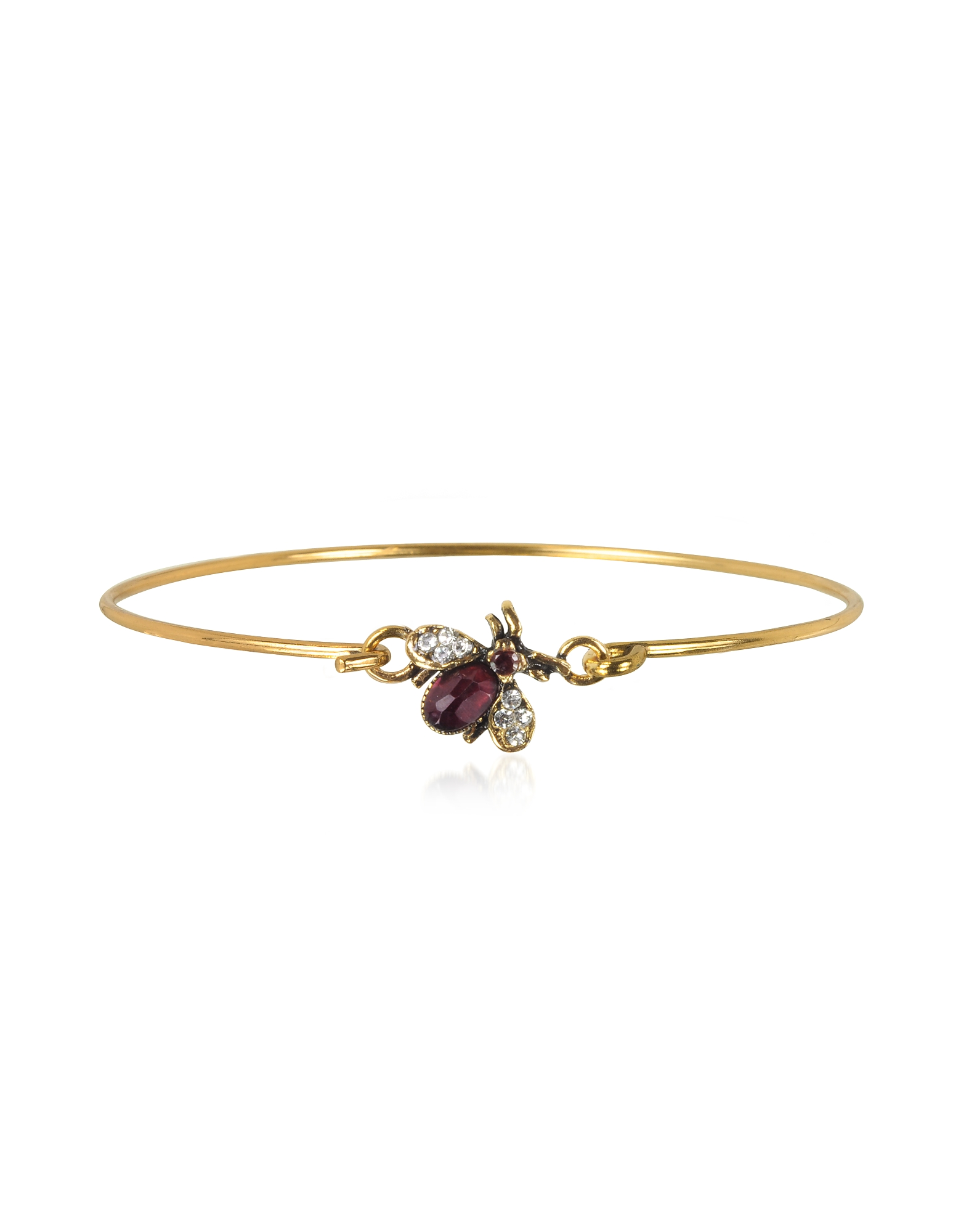 Alcozer & J Bracelets, Brass and Crystals Moschina Bangle