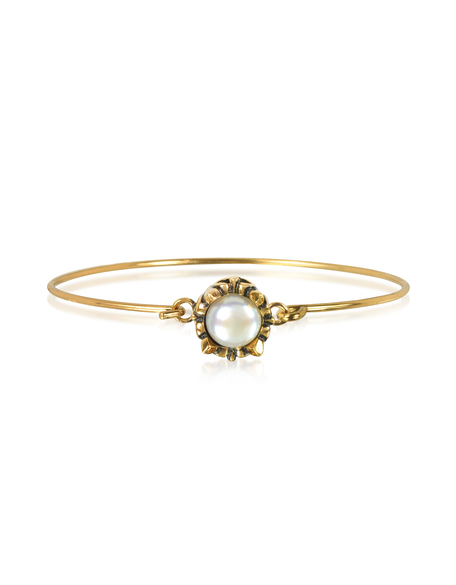 White Moon Brass Bangle