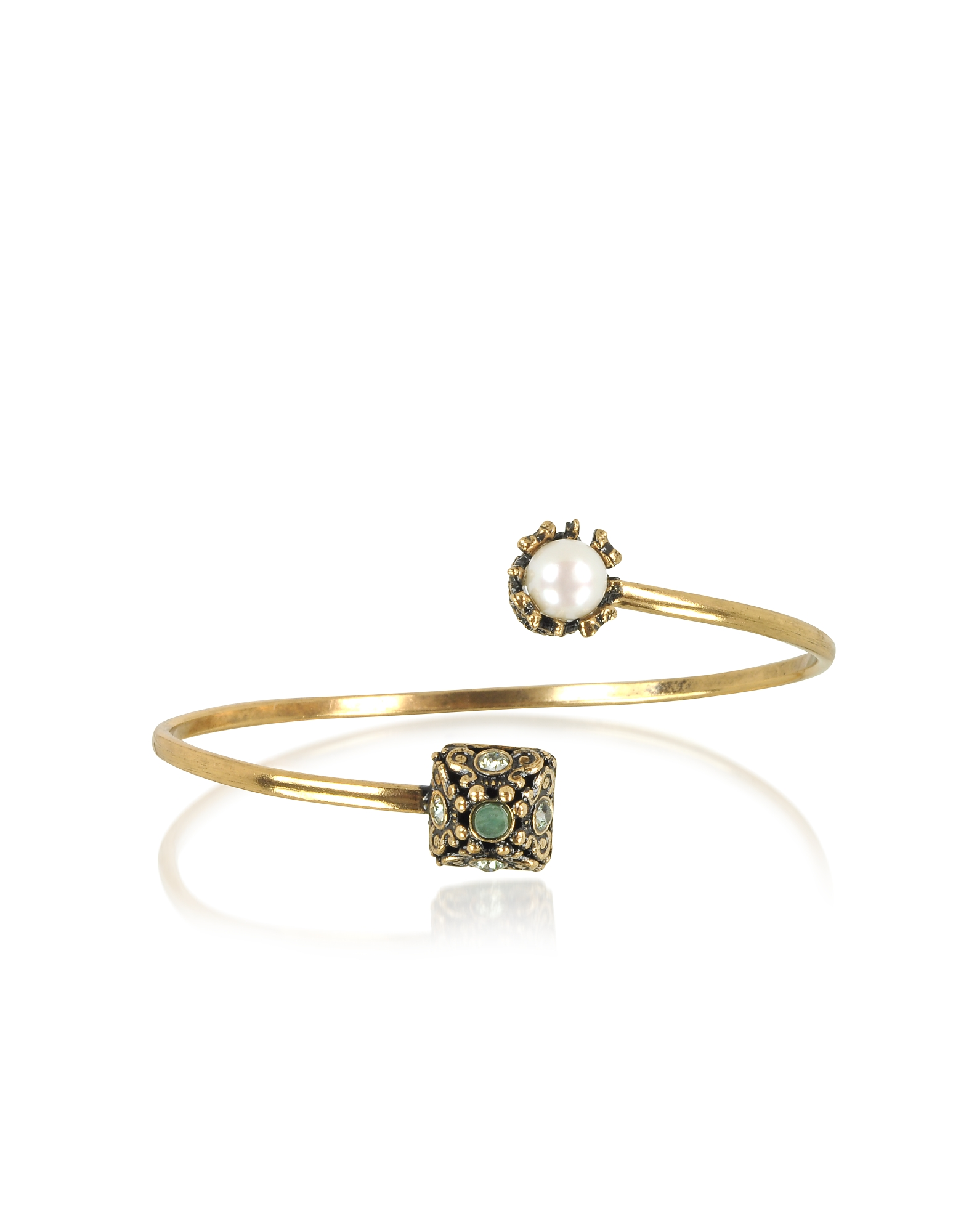 Pyramid and Pearl Bracelet w/Gemstones