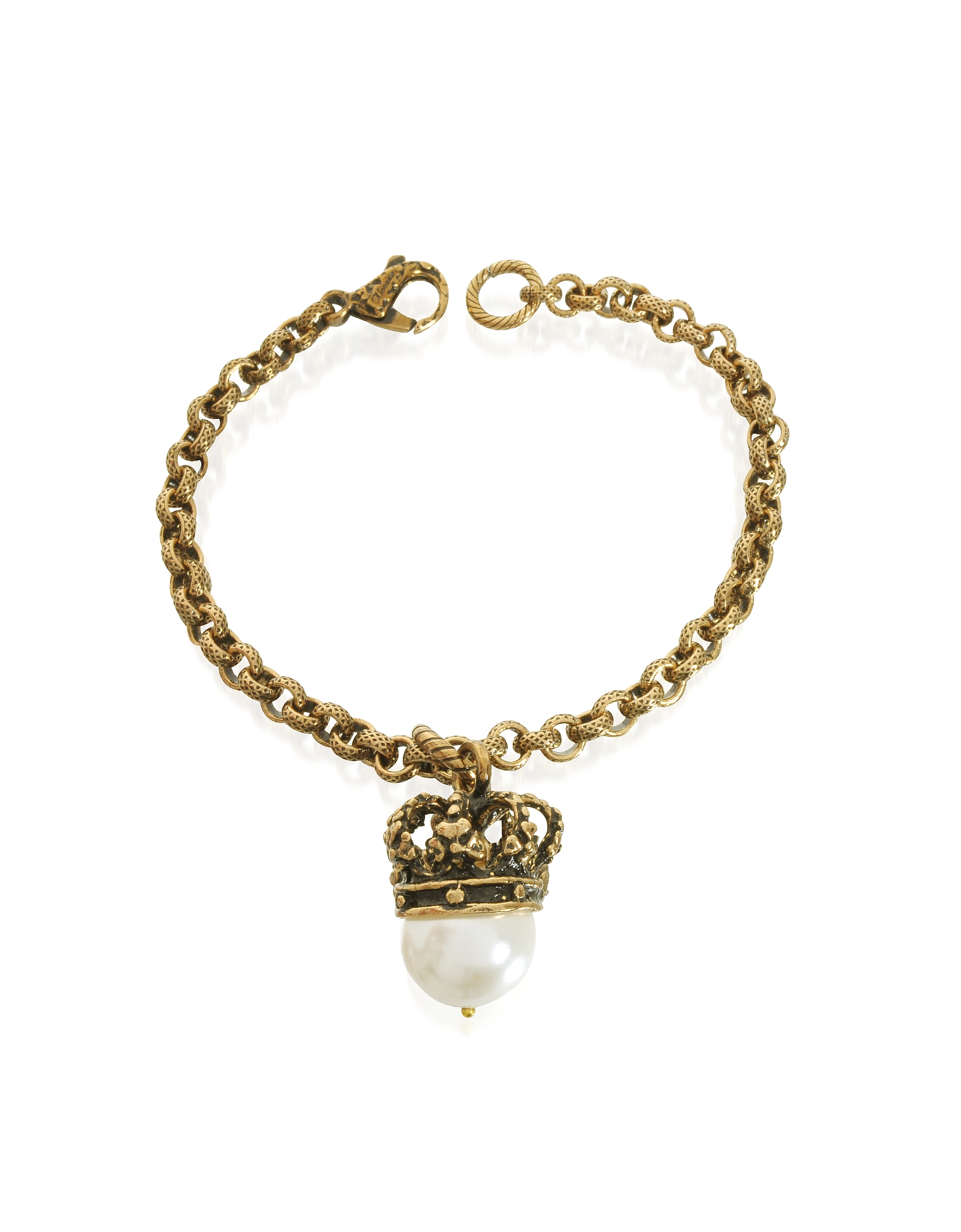 Alcozer & J Designer Bracelets, Crown and Pearl Bracelet