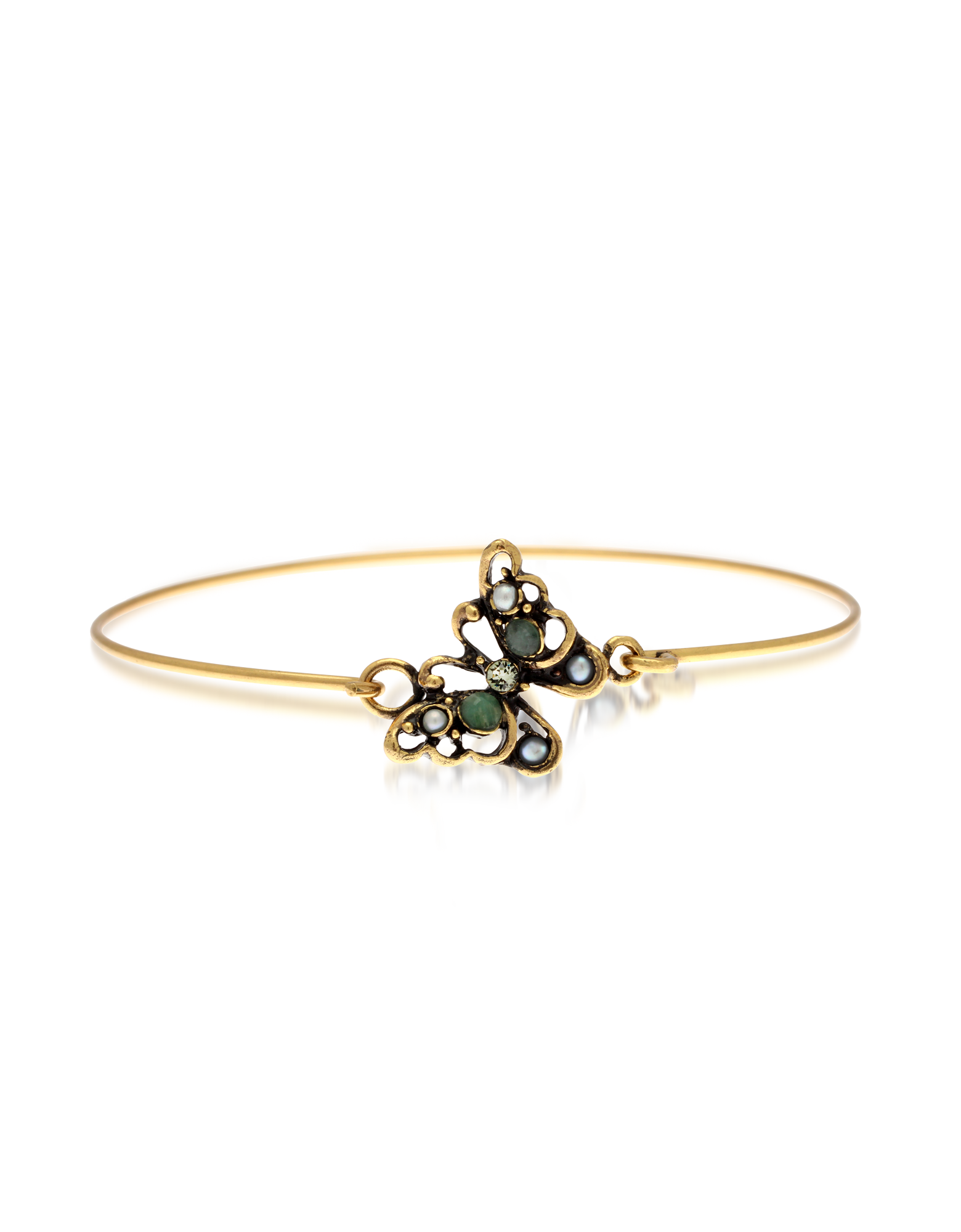 Image of Butterfly Goldtone Brass Bangle w/Glass Pearls