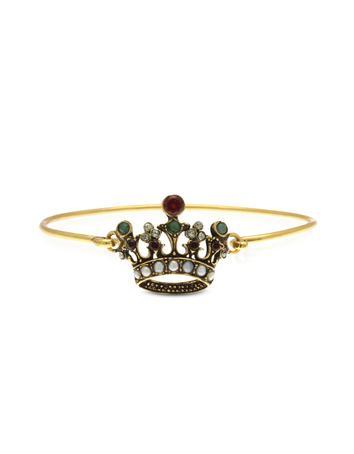 Princess Goldtone Brass Bangle w/Crown