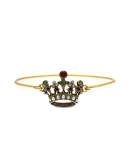 Image For Alcozer & J Princess Bangle in Metallo Dorato con Corona