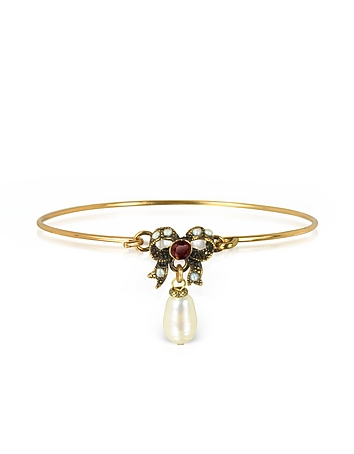 Alcozer & J - Happiness Goldtone Brass Bow and Glass Pearl Bangle
