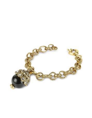 Alcozer & J Onyx Charm Chain Bracelet