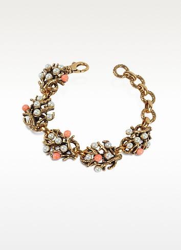 Coral - Brass & Glass Pearls Bracelet - Alcozer & J