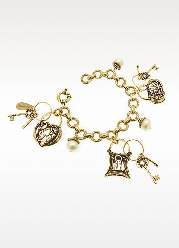 Brass Charm Bracelet with Lock and Key Charms - Alcozer & J